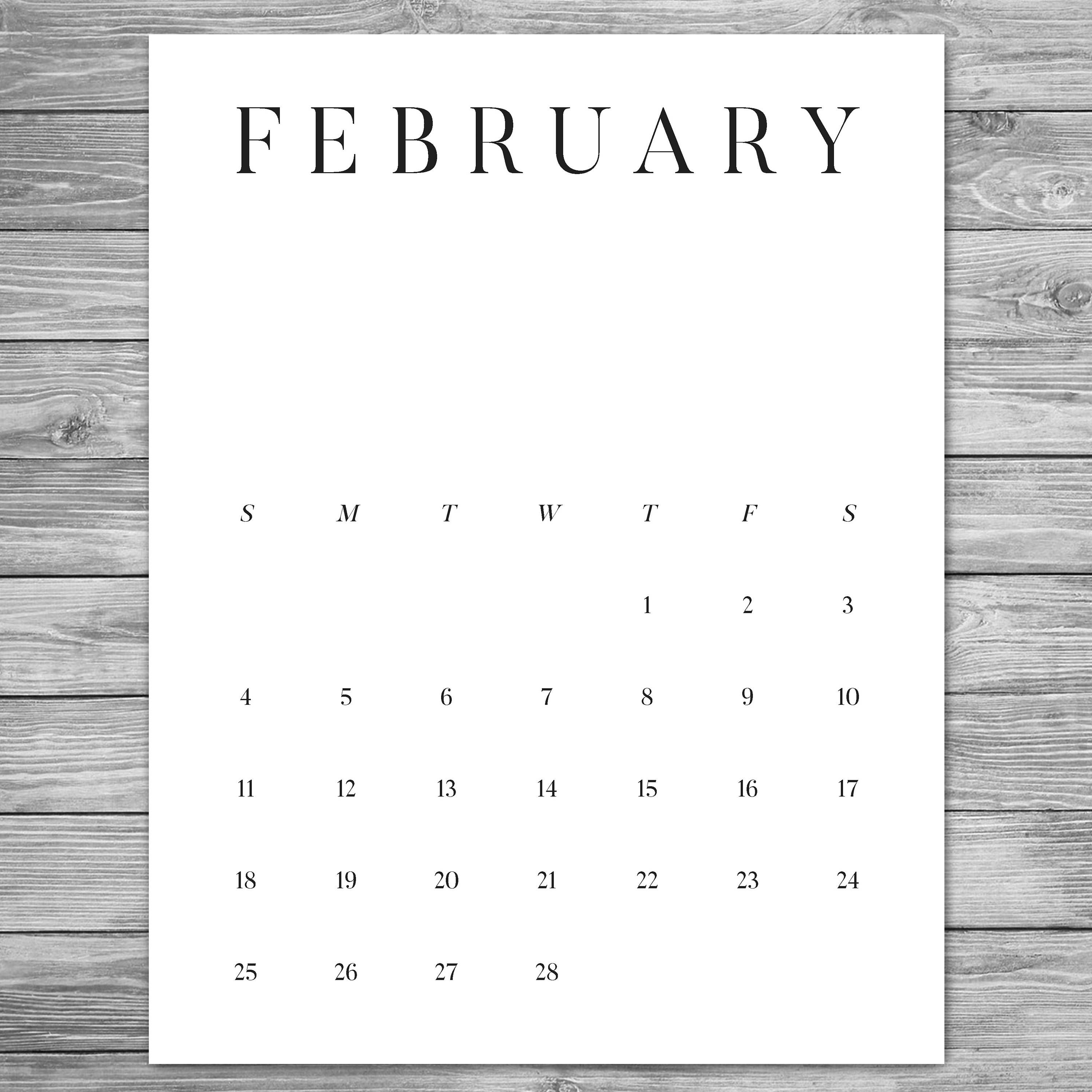 2018 2019 Printable Minimalist Monthly Calendar, Desk