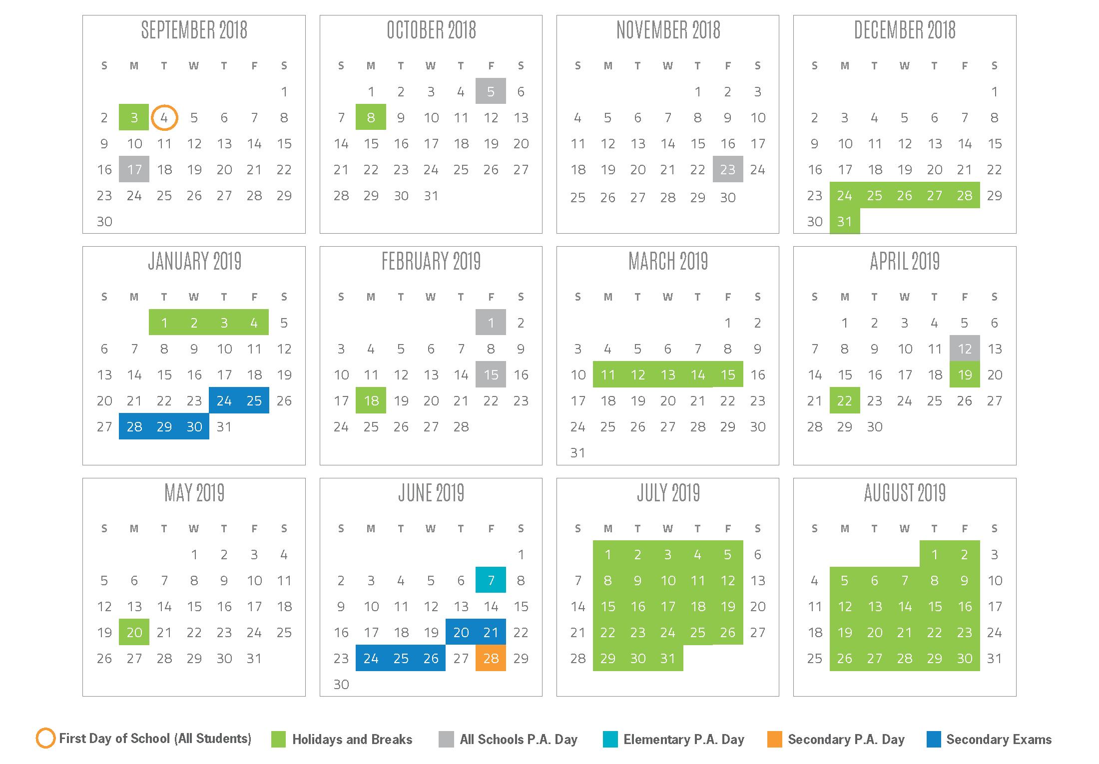 2018-2019 School Year Calendar