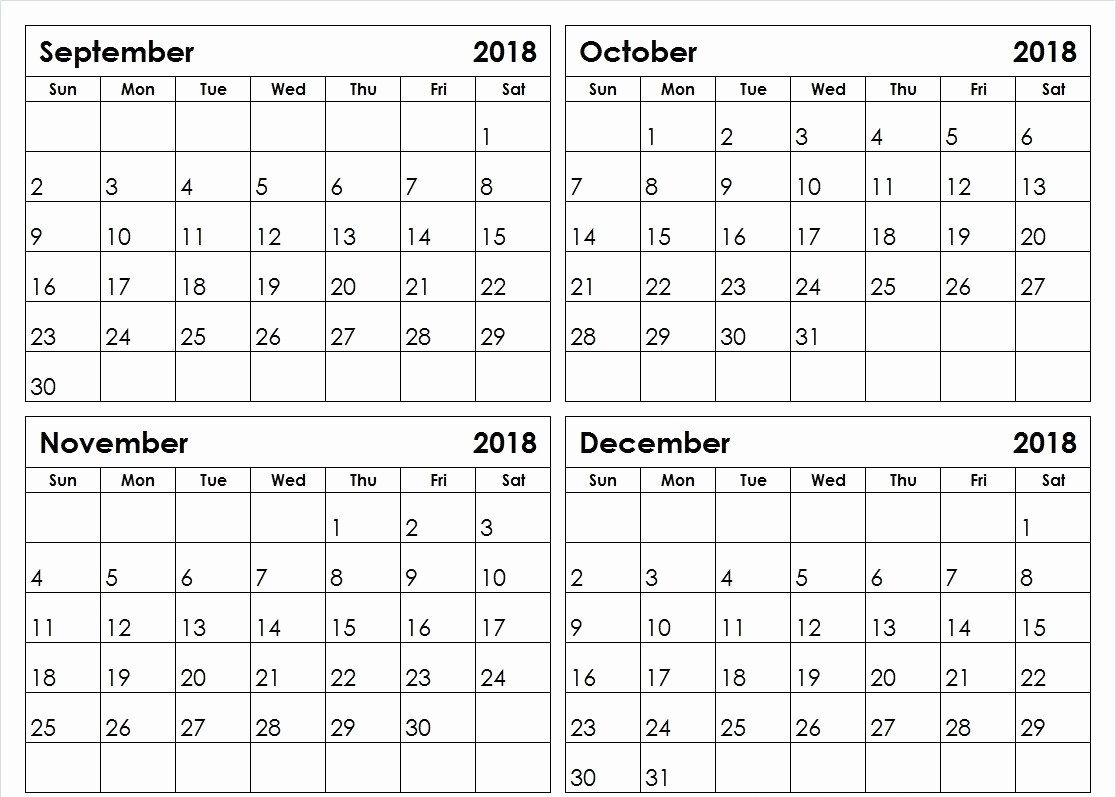 2018 4 Month Calendar Printable | Monthly Calendar