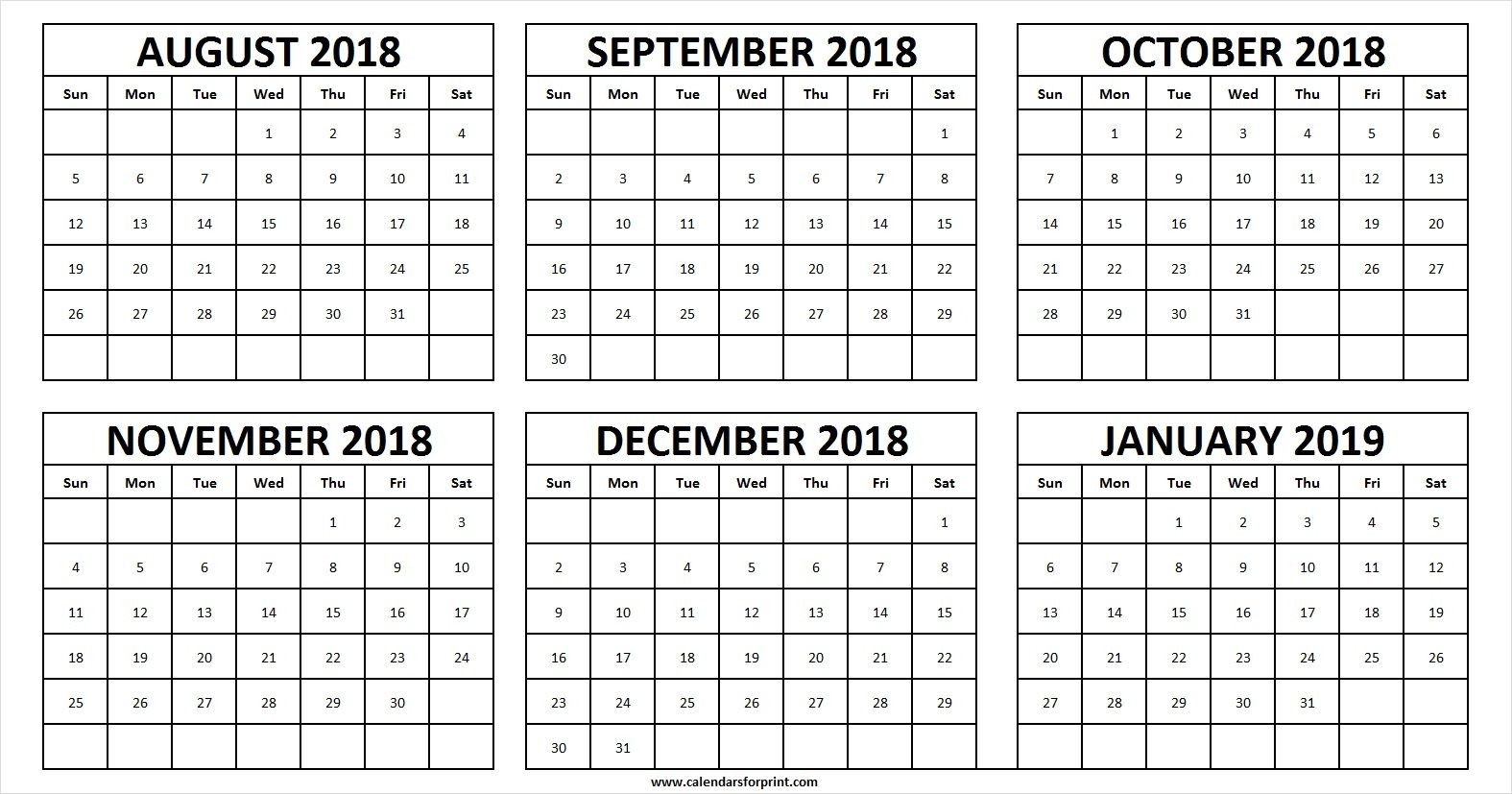 2018 Calendar August Thru December | Calendar Format Example