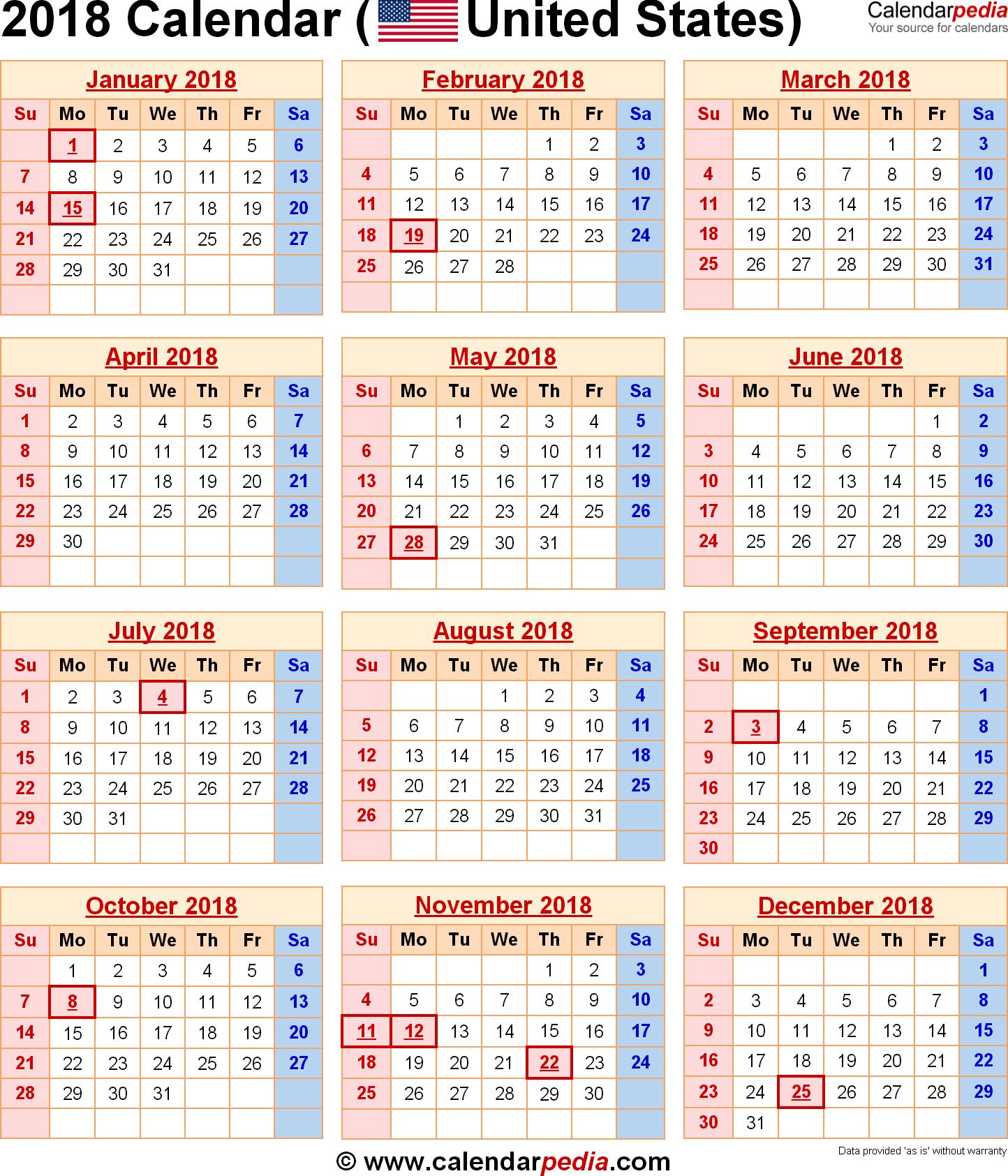 2018 Calendar | Calendars Diy | Holiday Calendar, 2018