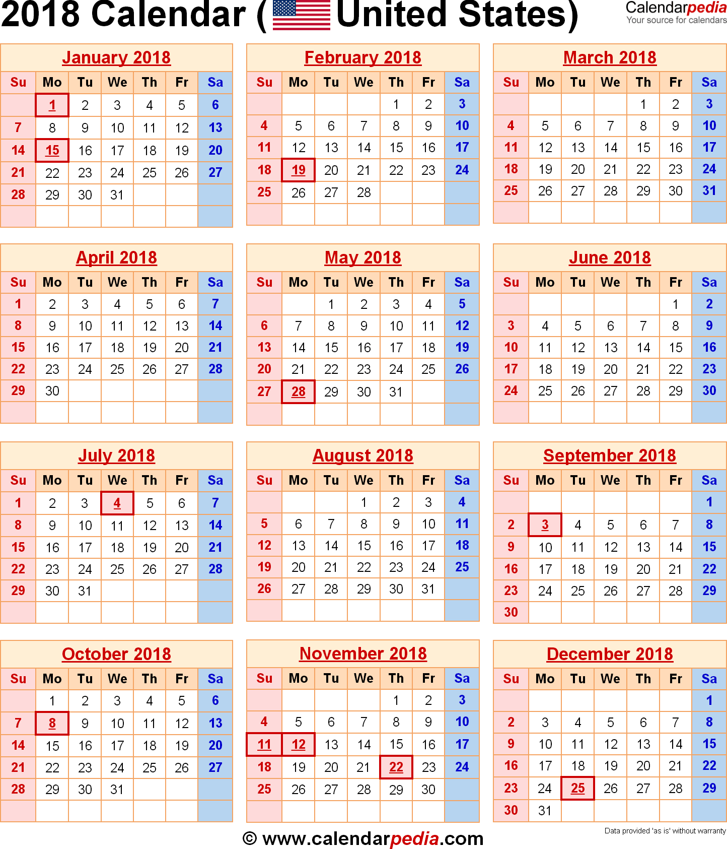 2018 Calendar | Calendars Diy | Holiday Calendar, 2018
