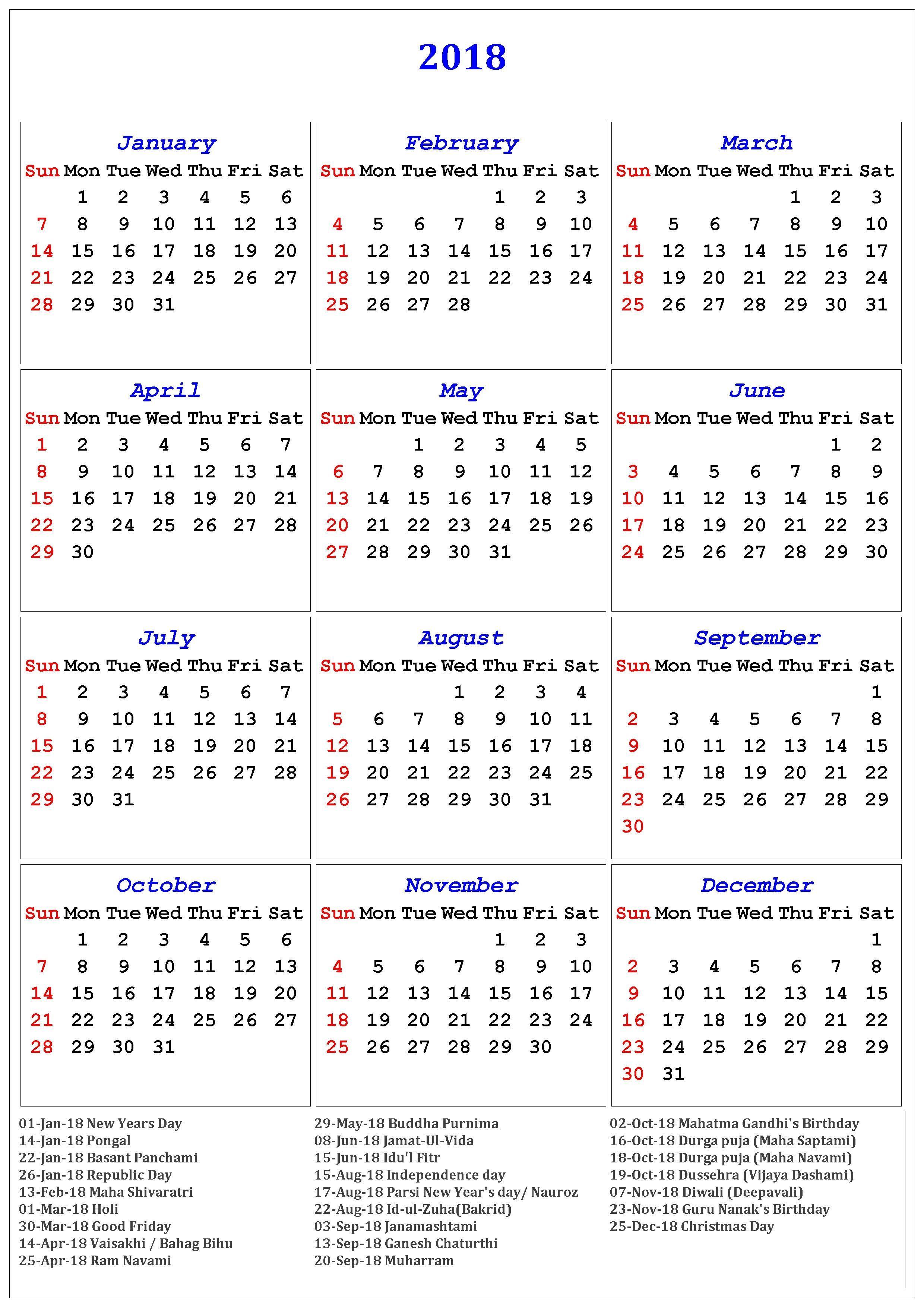 2018 Calendar Of Holidays | November Calendar | November