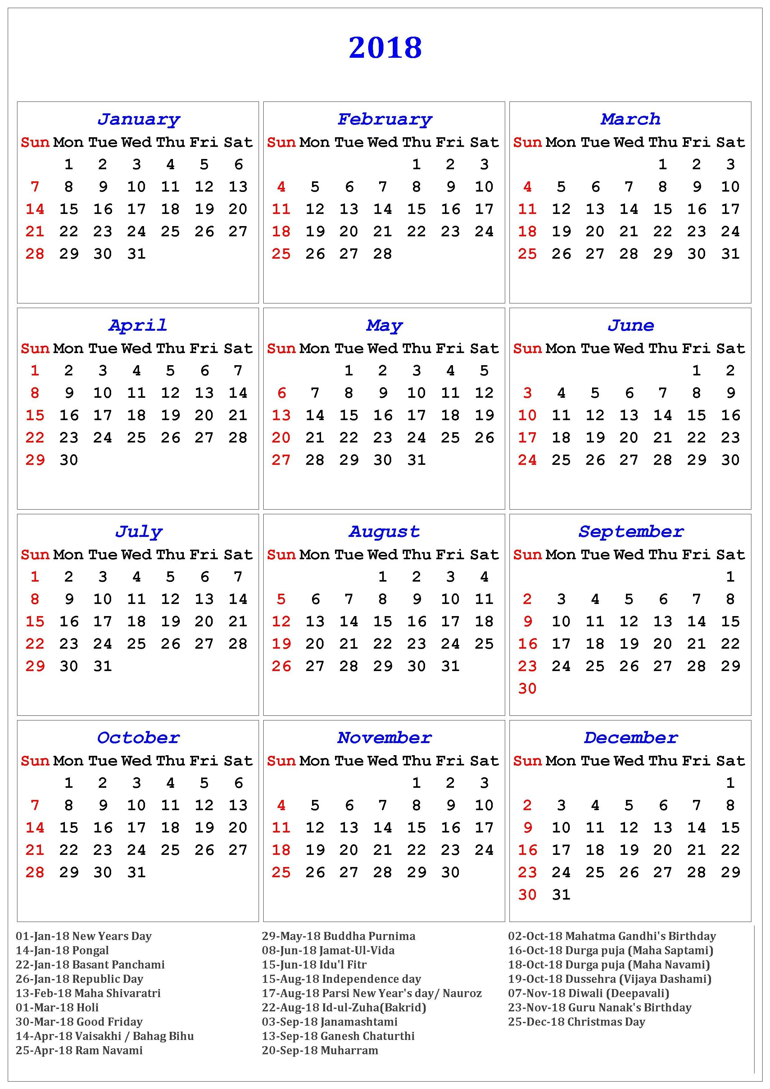 2018 Calendar Of Holidays | November Calendar | November