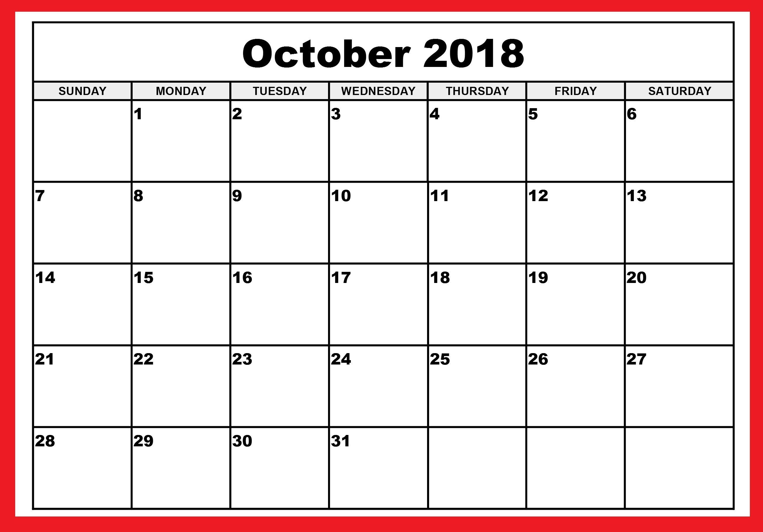 2018 Calendar Of October Printable   October 2018 Calendar