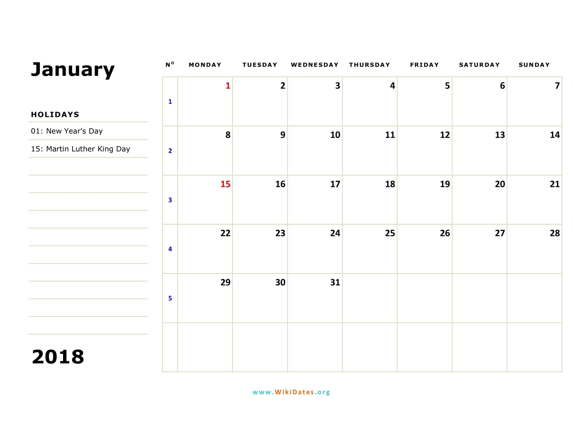 2018 Calendar | Wikidates