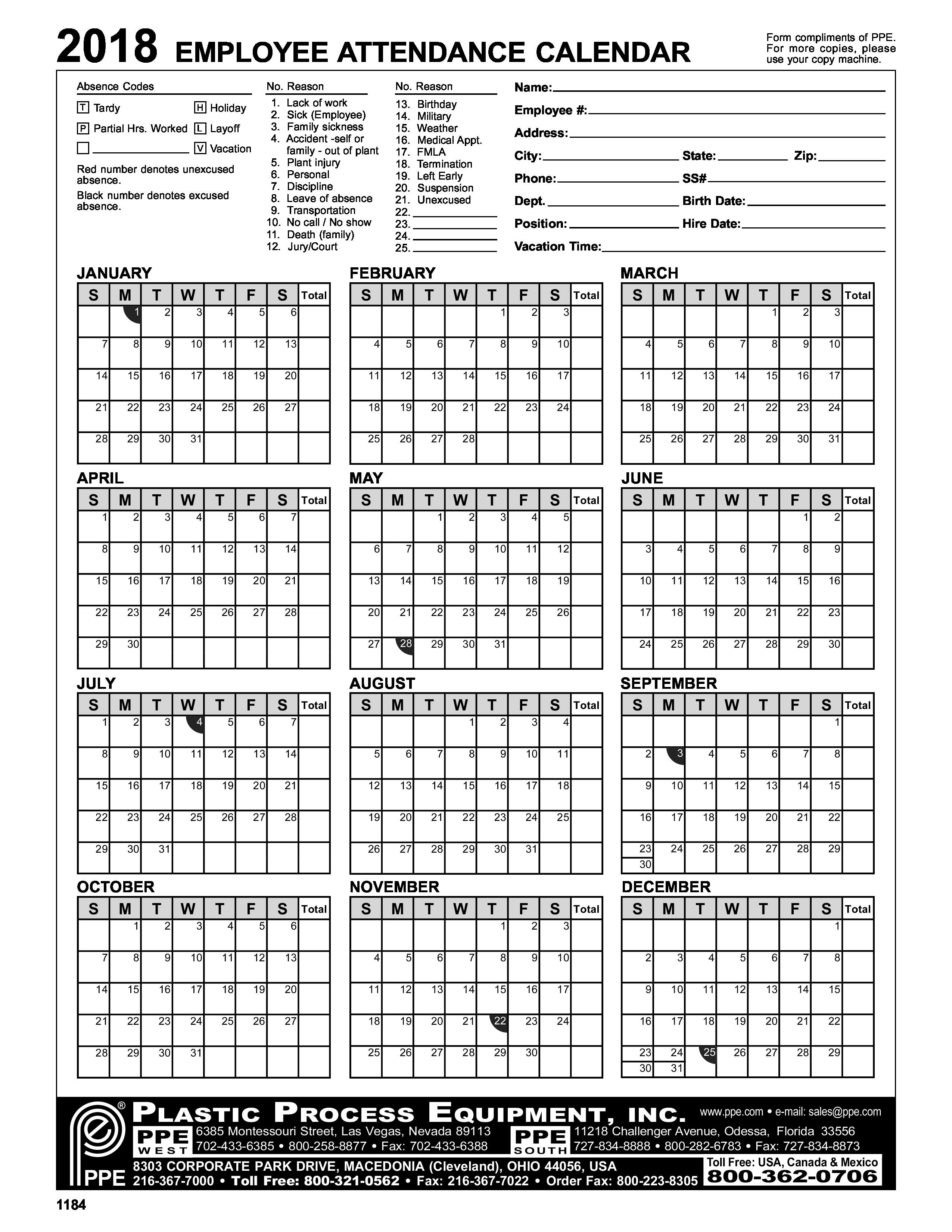 2018 Employee Attendance Calendar With Employee Attendance