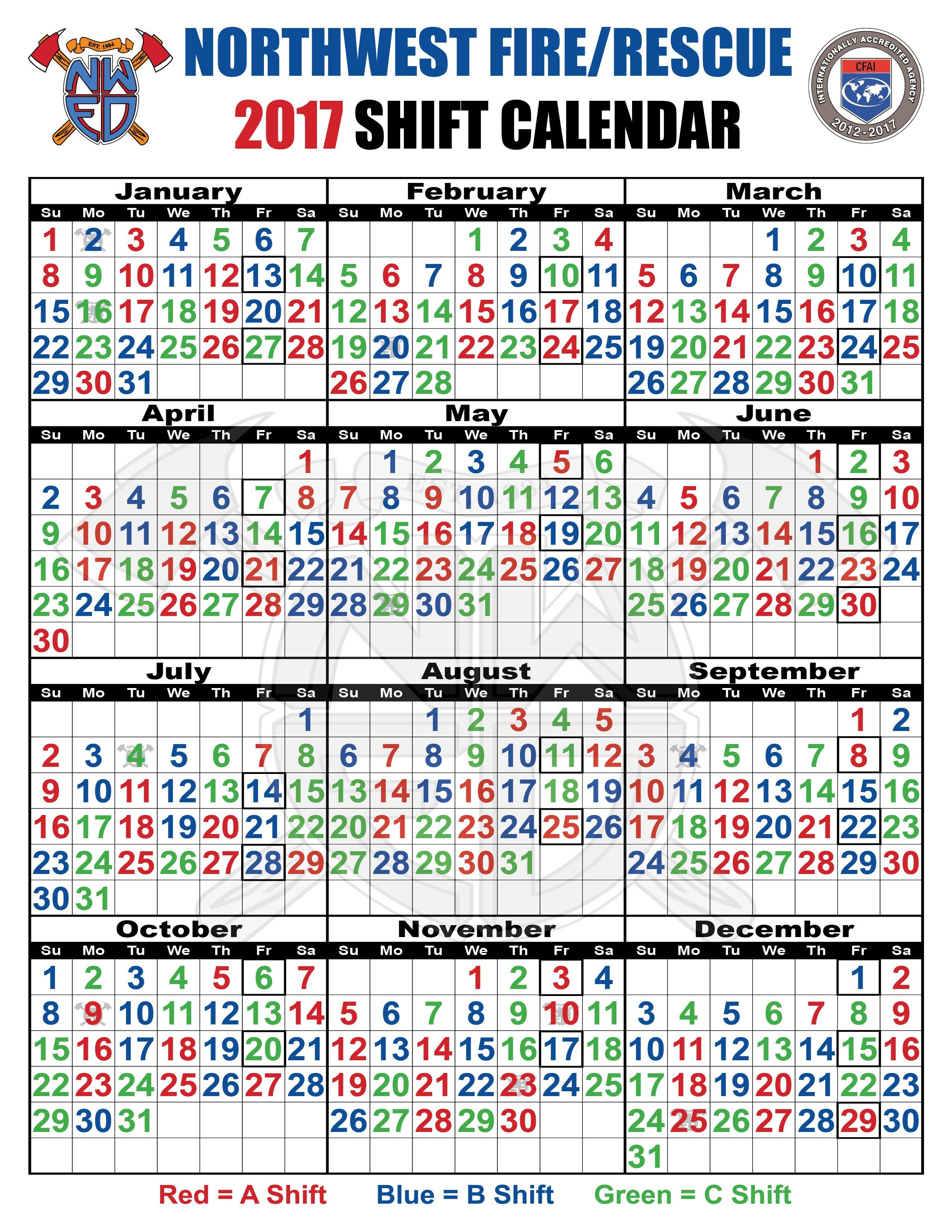 2018 Fire Shift Calendar Printed For Free - Calendaro.download
