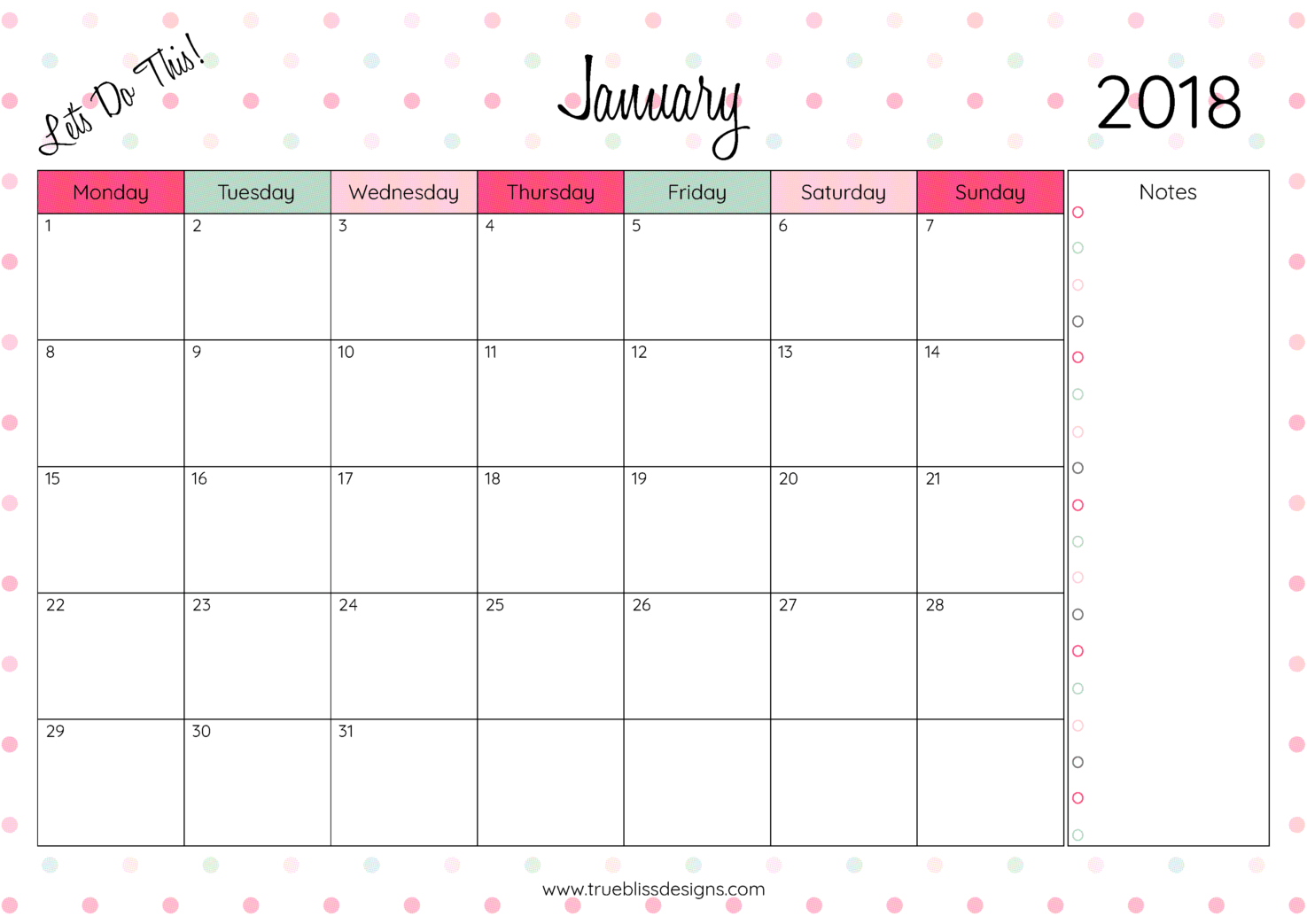 2018 Monthly Printable Calendar - Let's Do This | Diy