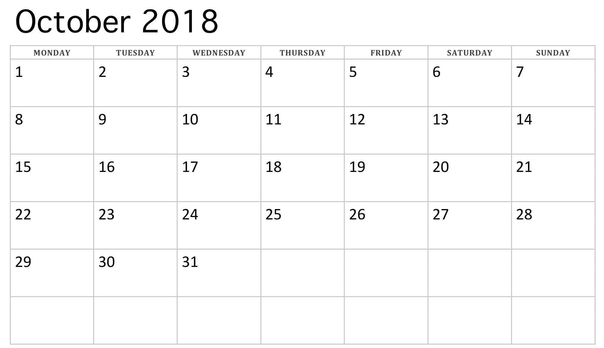 2018 October Monday Starting Calendar | 2018 Calendars