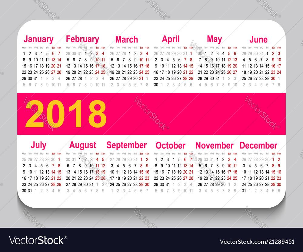 2018 Pocket Calendar Template Calendar Grid