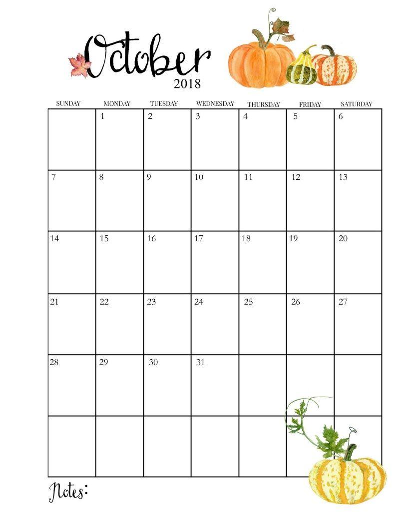 2018 Printable Monthly October Calendar   Календарь