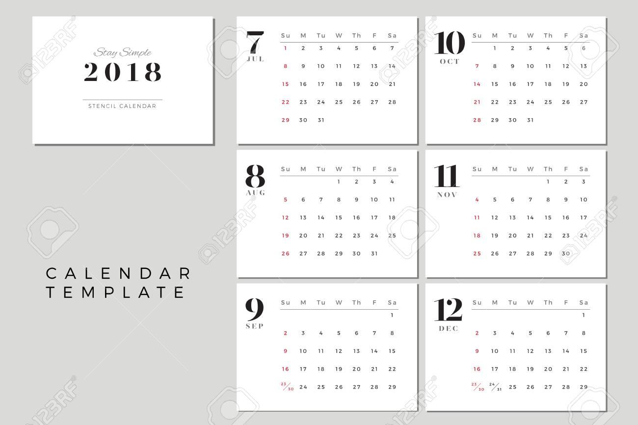 2018 Vector Calendar Template July To December, 2018 Simple Planner,..