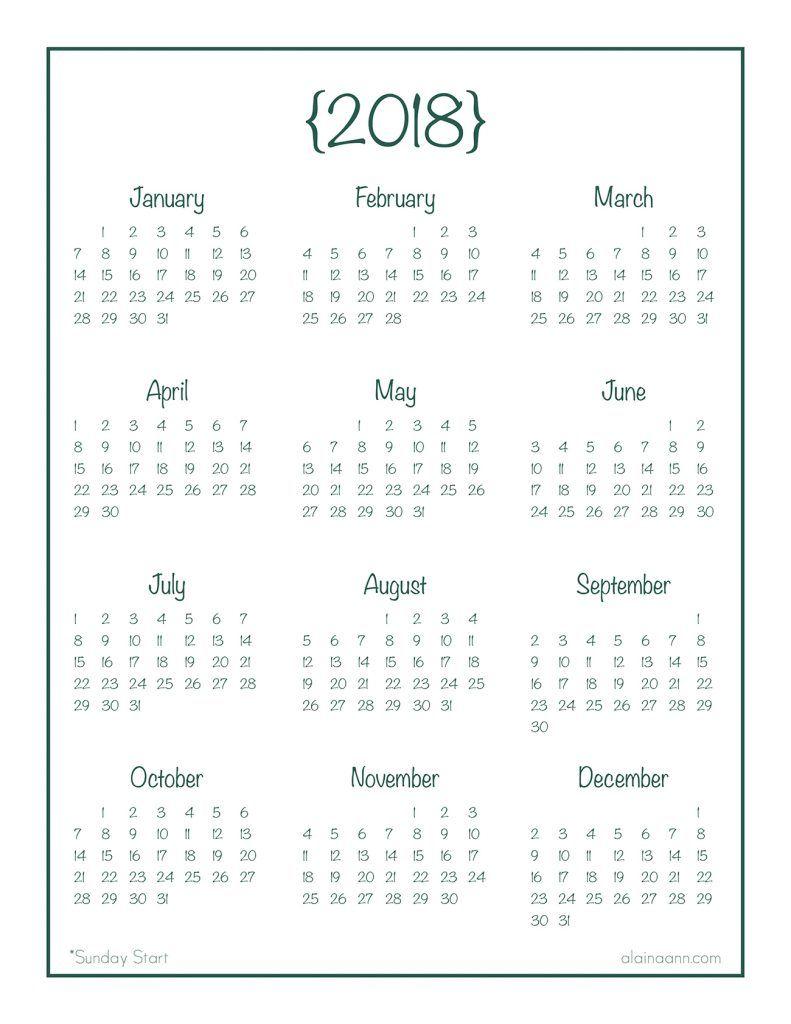 2018 Year-At-A-Glance Calendar {Free Printable} | Ec/hp
