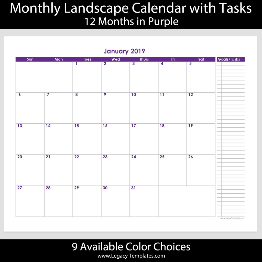 """2019 - 12 Month Calendar With Tasks - 8 1/2"""" X 11"""" 
