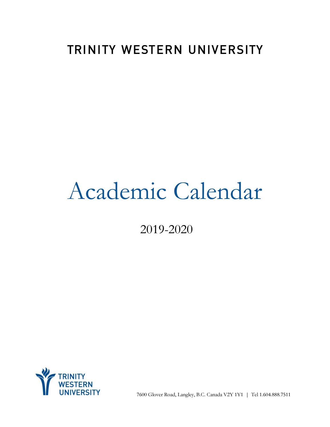 2019-20 Academic Calendartwu - Issuu