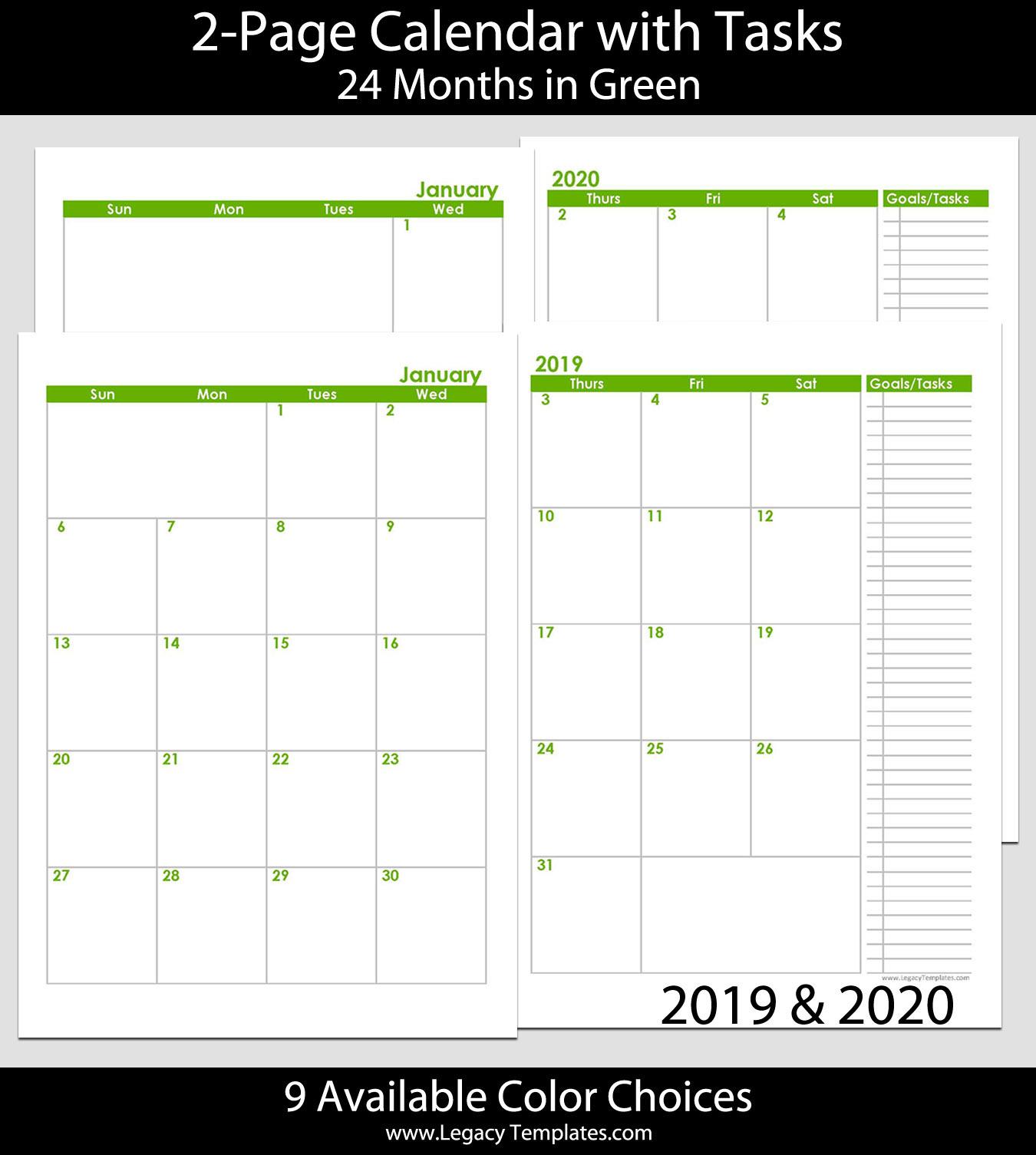 2019 & 2020 24-Months 2-Page Calendar – A5 | Legacy Templates