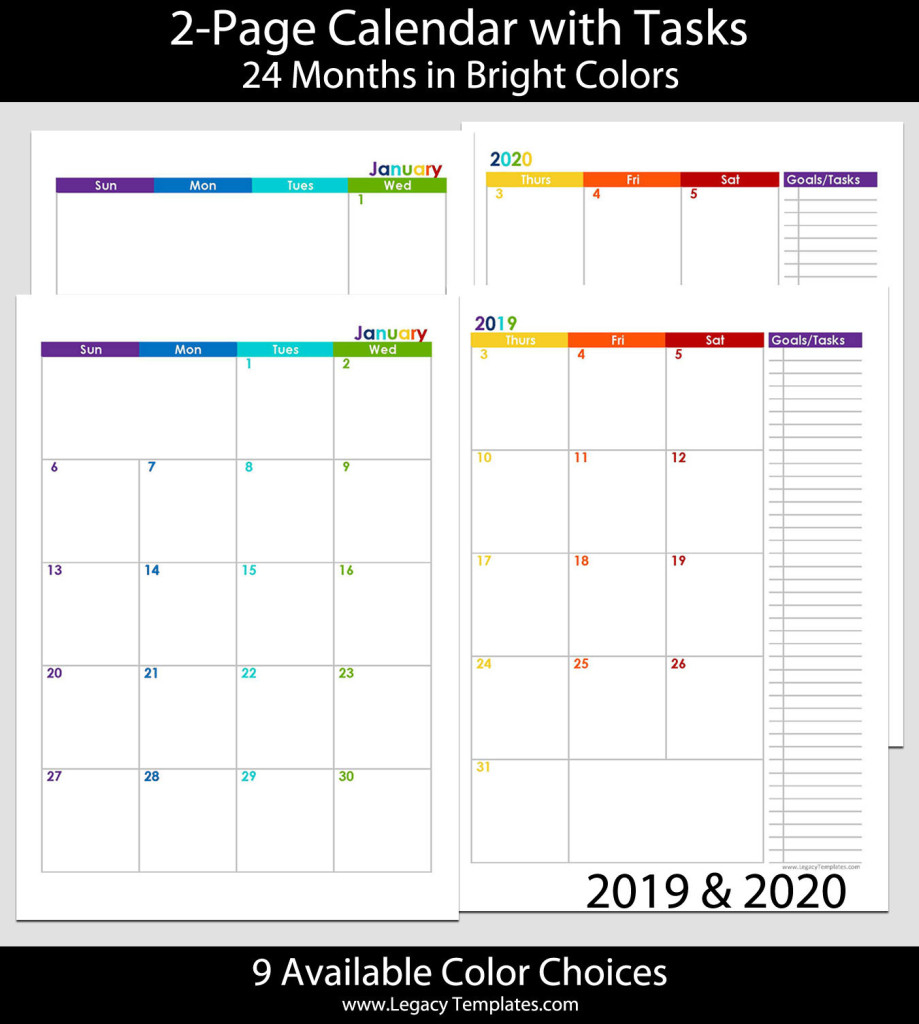 2019 & 2020 24-Months 2-Page Calendar – A5 | Legacy Templates