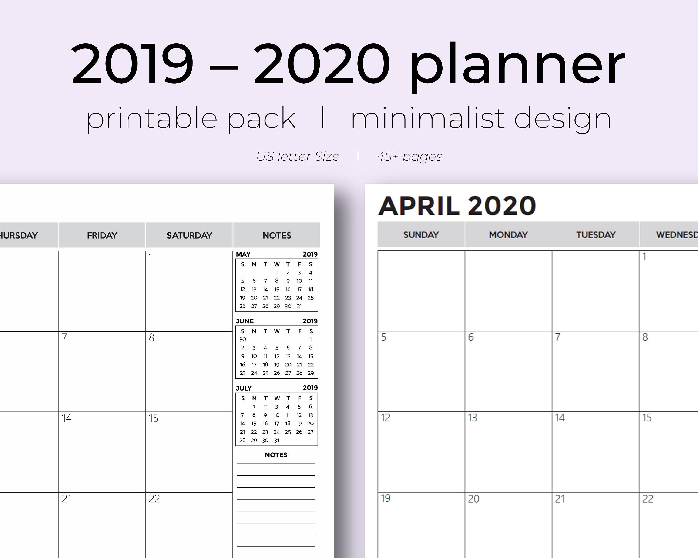 2019-2020 Academic Monthly Planner, 18 Month Printable Planner, Dated  Planner Refill, Calendar, 2019 School Calendar, Minimalist Calendar