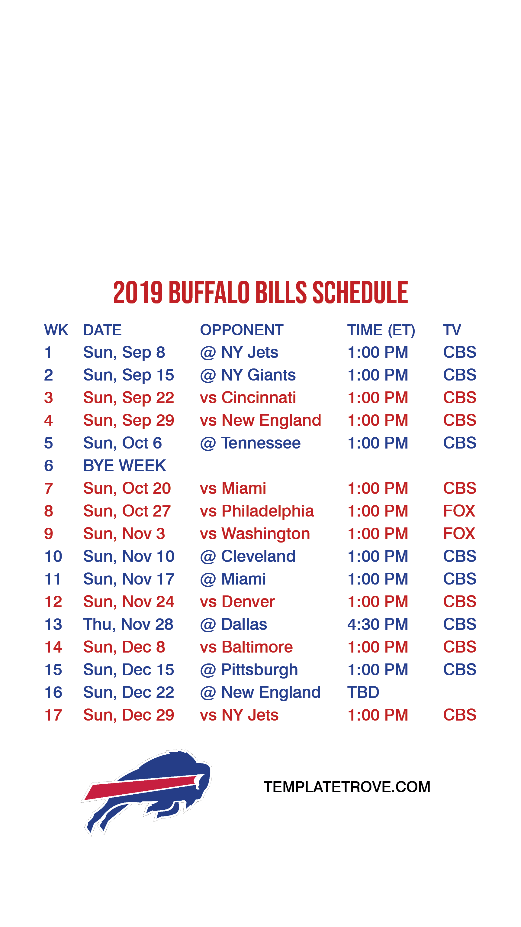 Buffalo Bills Schedule 2020.2020 Buffalo Biils Printable Schedule Example Calendar