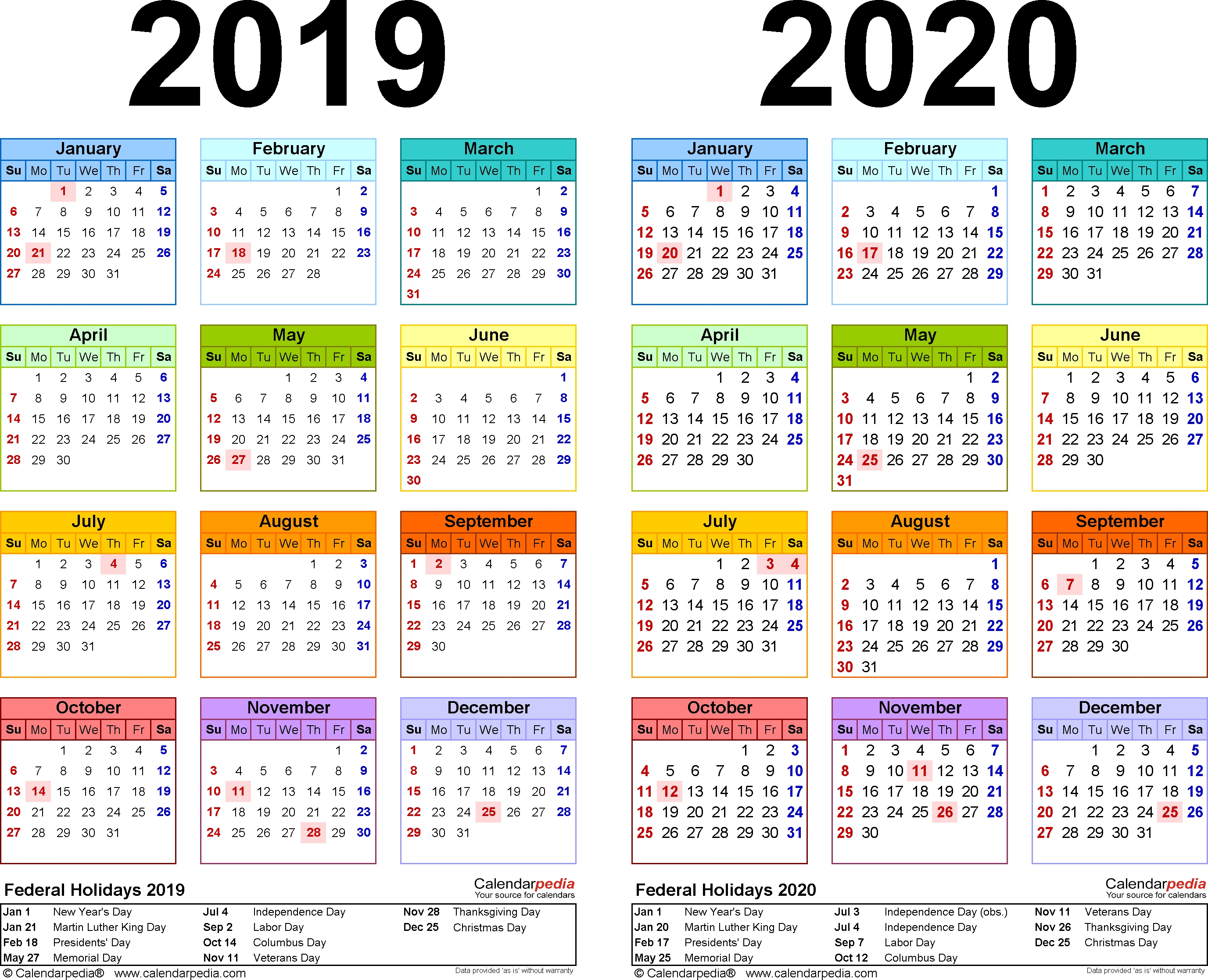 2019-2020 Calendar – Free Printable Two-Year Pdf Calendars