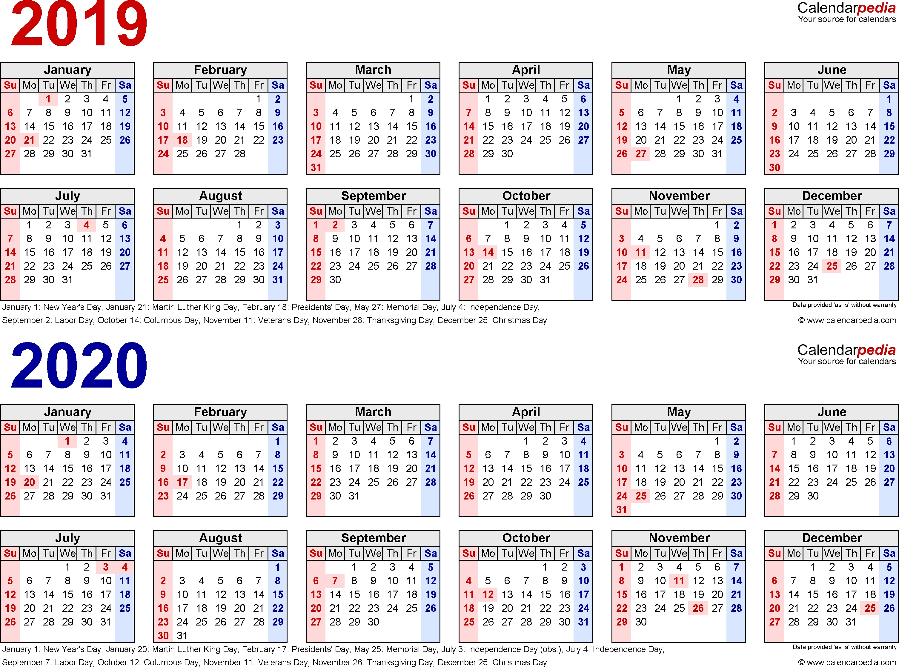 2019-2020 Calendar – Free Printable Two-Year Word Calendars