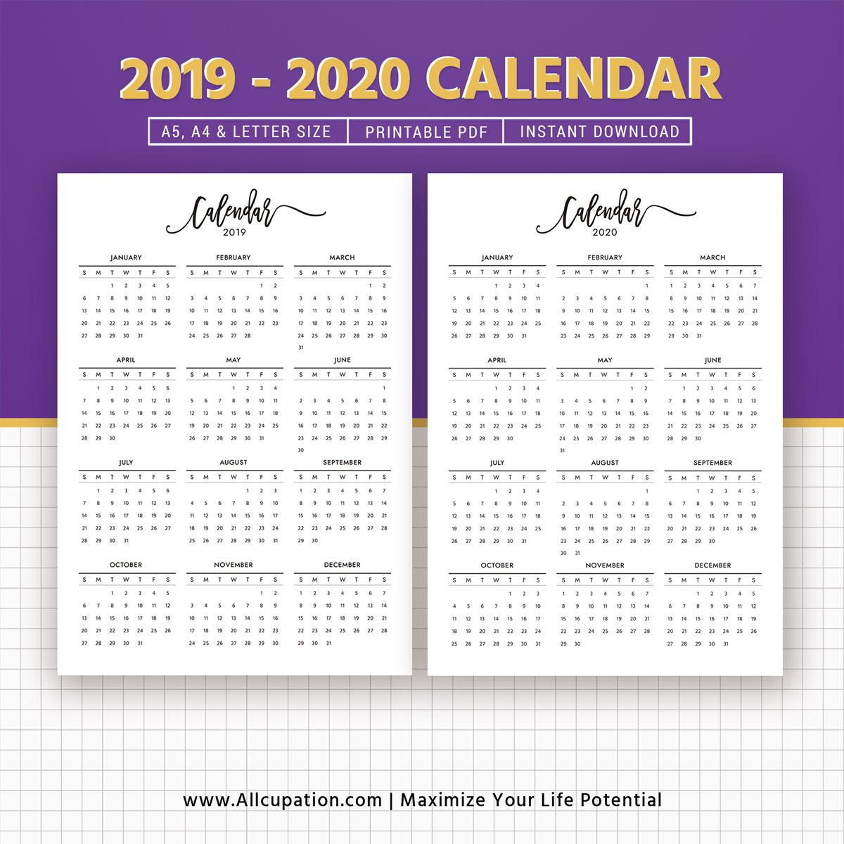 2019-2020 Calendar, Printable Calendar, Planner Design, Best Planner,  Planner Printable, Planner Inserts, Filofax A5, A4, Letter, Instant Download