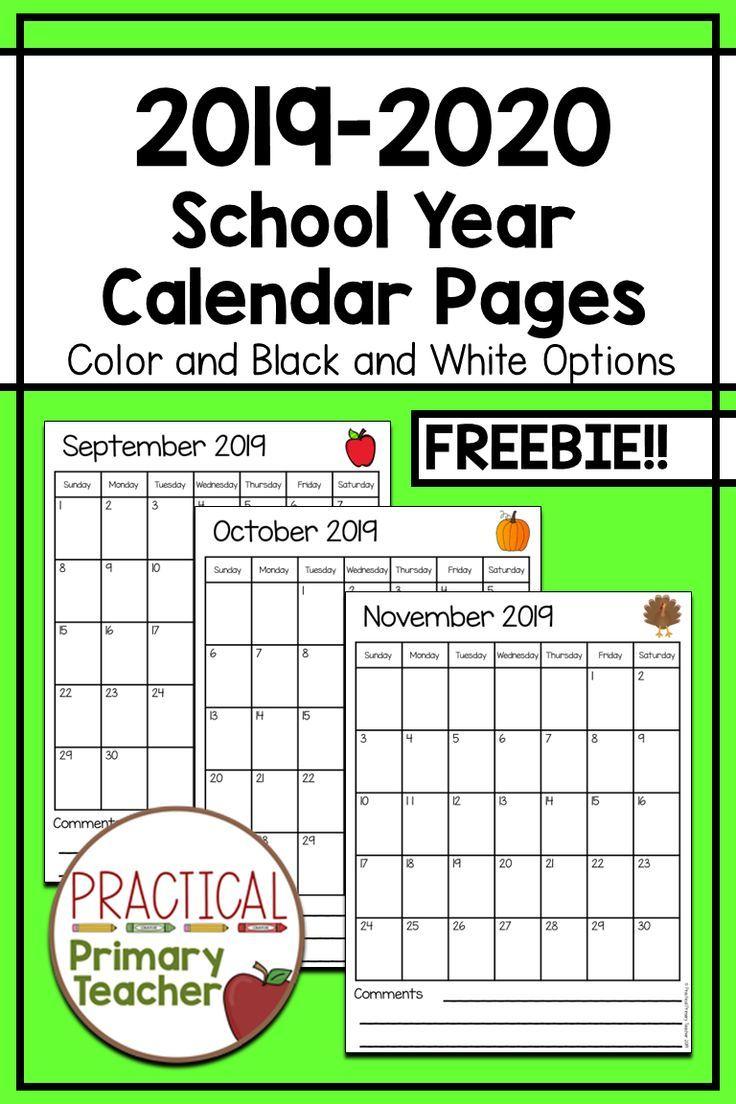 2019-2020 Calendars Free | School | Classroom Calendar