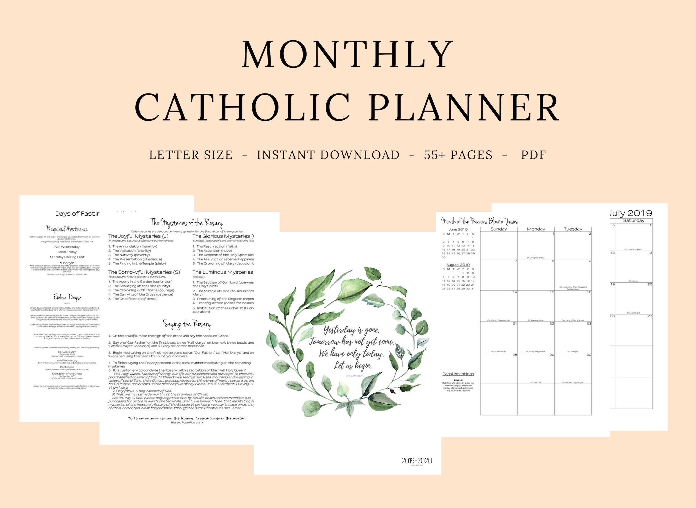 2019- 2020 Catholic Monthly Planner