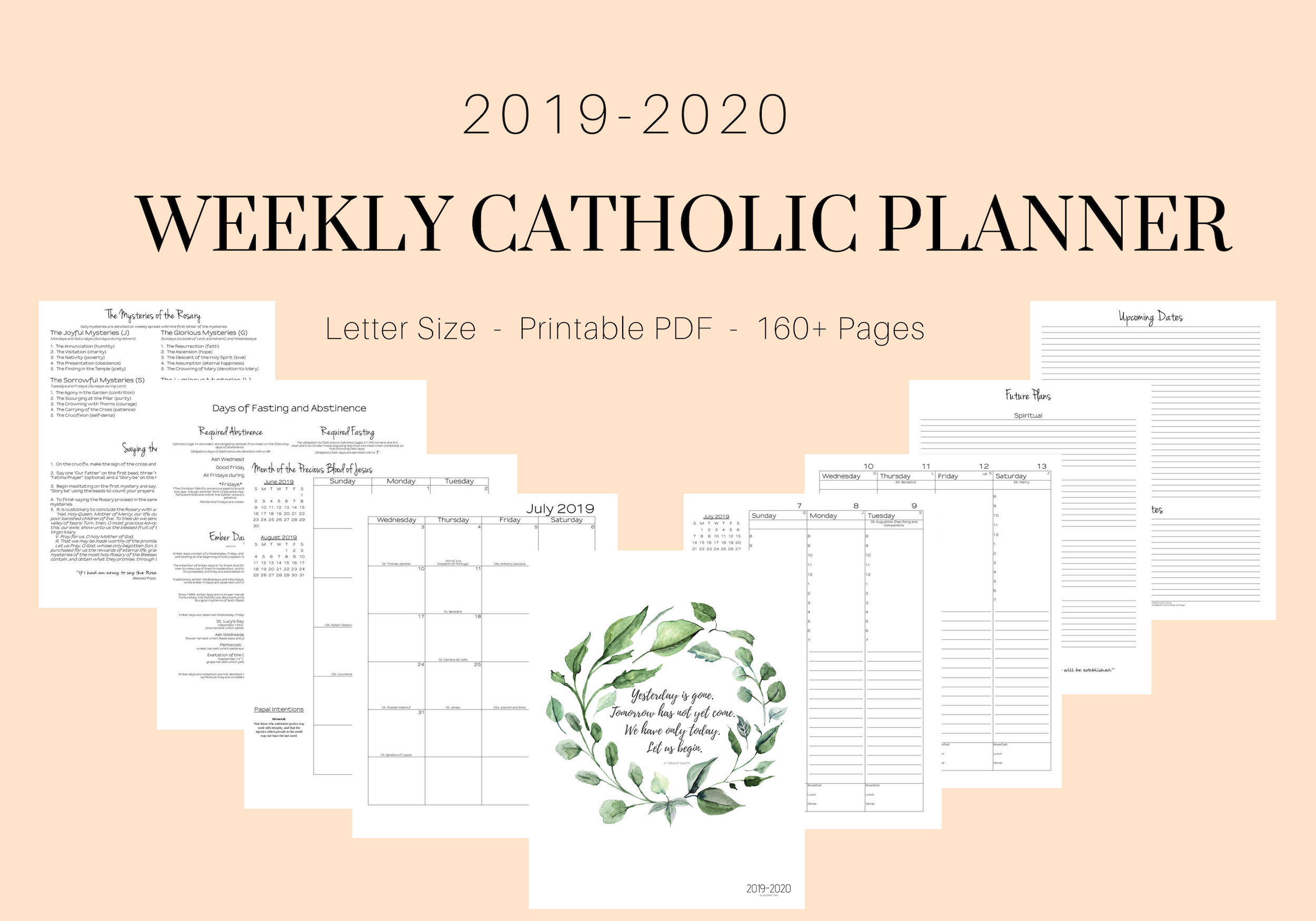 2019 - 2020 Catholic Planner Weekly Printable: Daily Planner / Weekly  Calendar / Liturgical Planner / Printable Catholic Planner