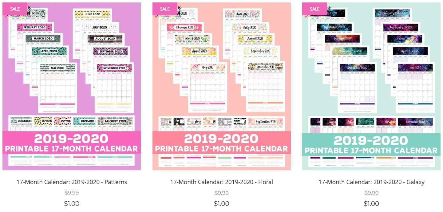 2019-2020 Free Printable Monthly Calendar - Happiness Is