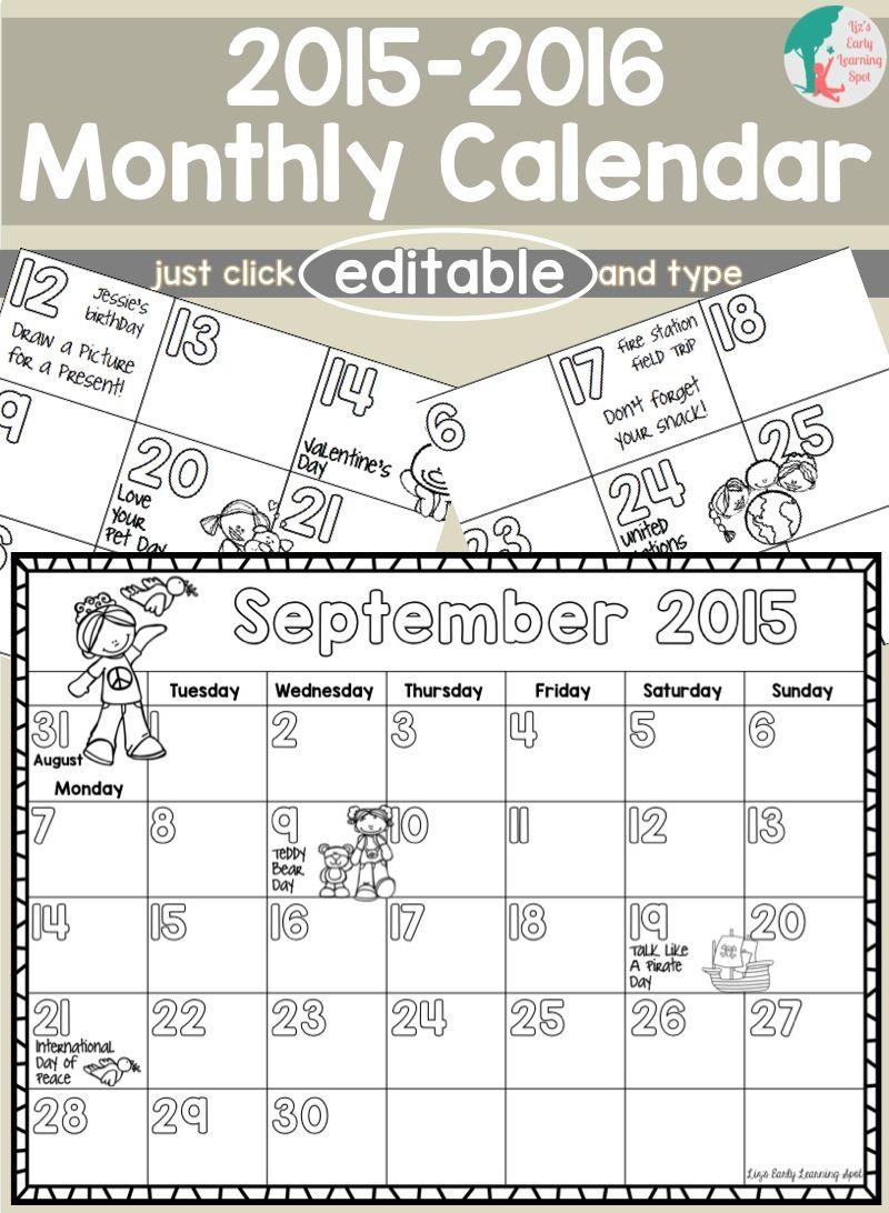 2019-2020 Monthly Calendar For Kids (Editable) - Free