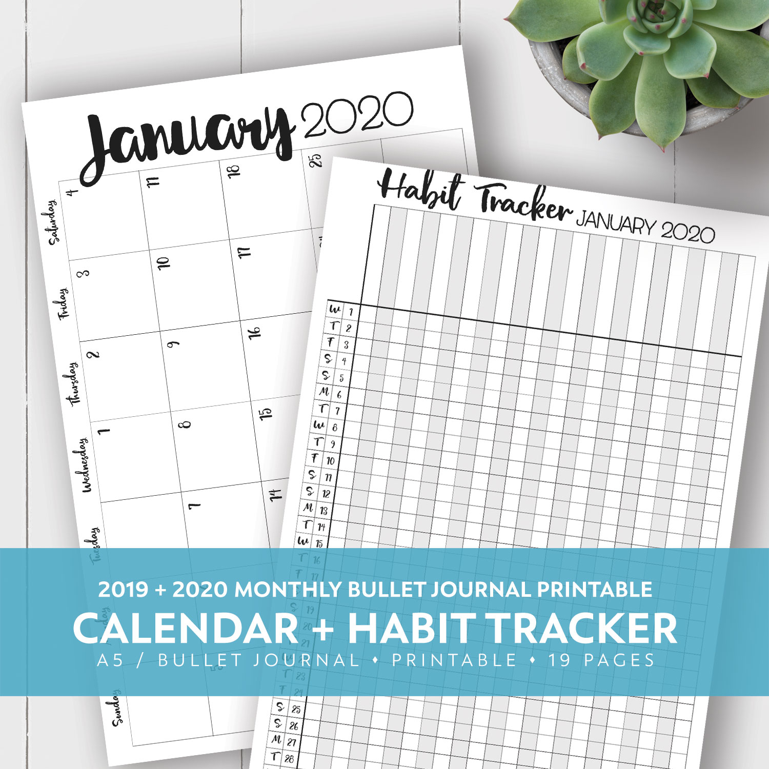 2019 + 2020 Monthly Printable Calendar + Habit Tracker Kit