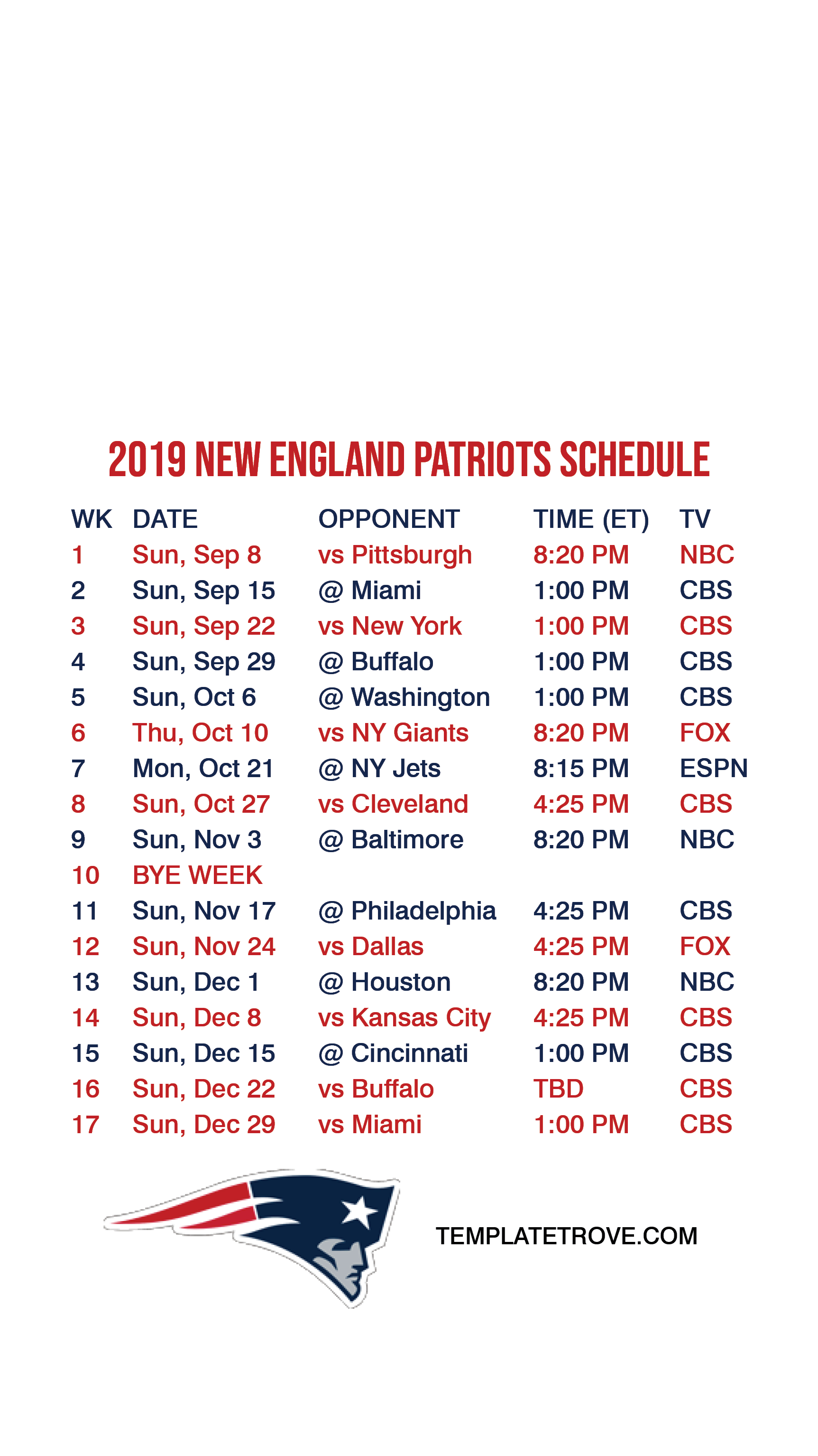 2019-2020 New England Patriots Lock Screen Schedule For