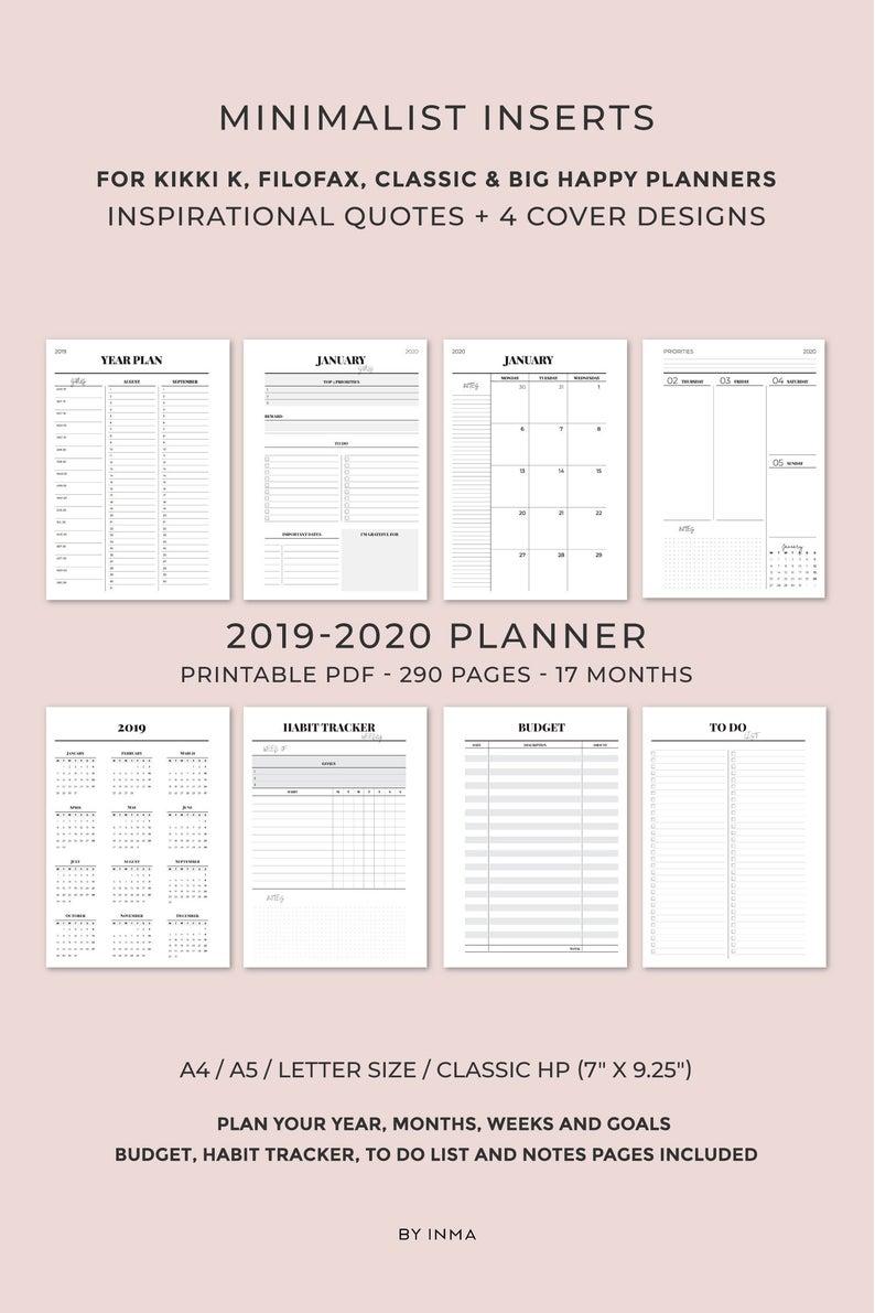 2019 2020 Planner Printable, Minimalist Planner, Monthly Planner, Weekly  Planner, Printable Planner Pages, Kikki K Inserts, Filofax Inserts