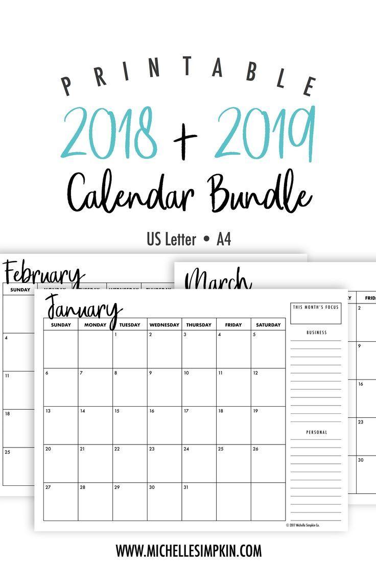 2019 & 2020 Printable Monthly Calendars Bundle • Landscape