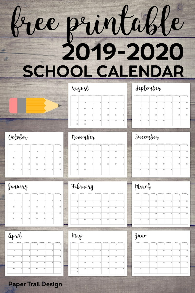 2019-2020 Printable School Calendar - Paper Trail Design
