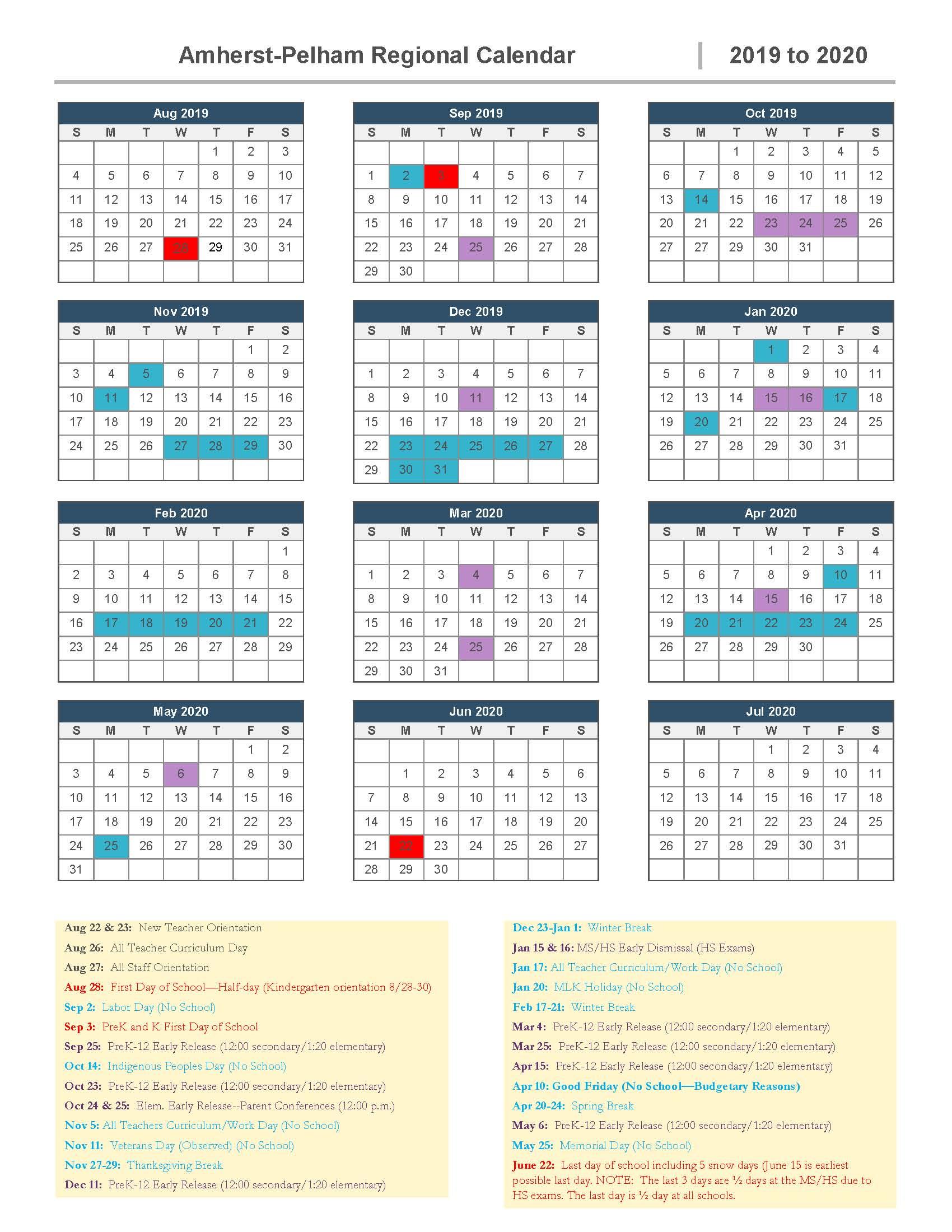 2019-2020 School Calendar Approved   Amherst-Pelham Regional