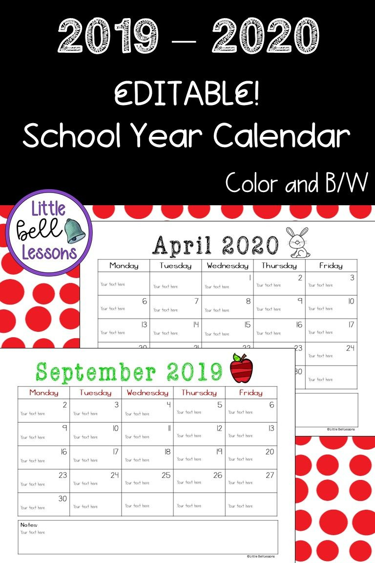 2019-2020 School Year Printable Calendars {Editable!} | My