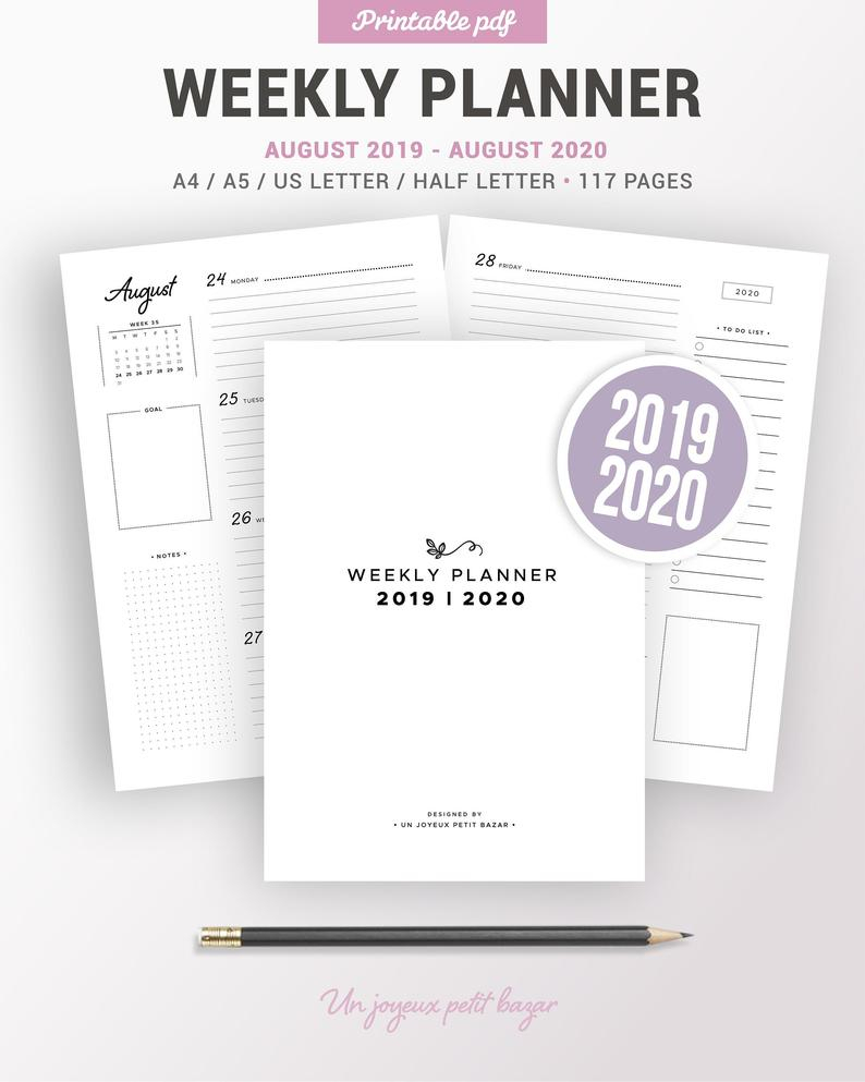 2019 2020 Weekly Planner Printable, Agenda Refill, Pdf Diary, Organiser,  Weekly Schedule, Wo2P, Filofax Inserts, A5, A4, Letter & Half Size