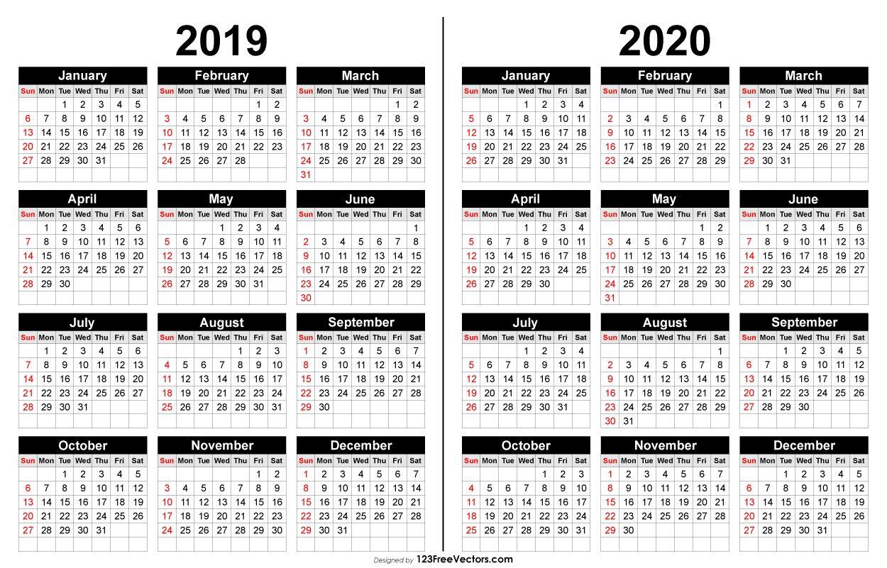 2019 And 2020 Calendar Printable   2019 Calendar   2019