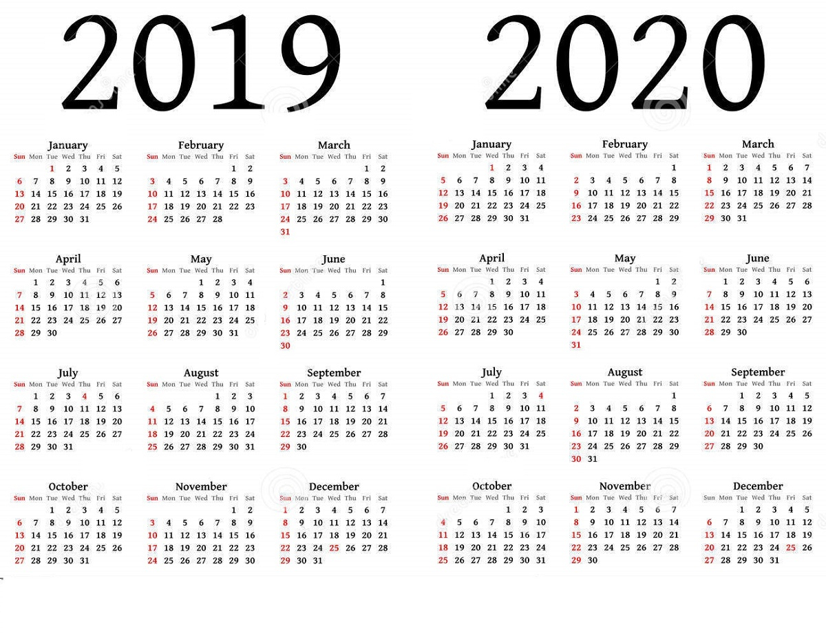 2019 And 2020 Calendar Printable | Calendar Shelter