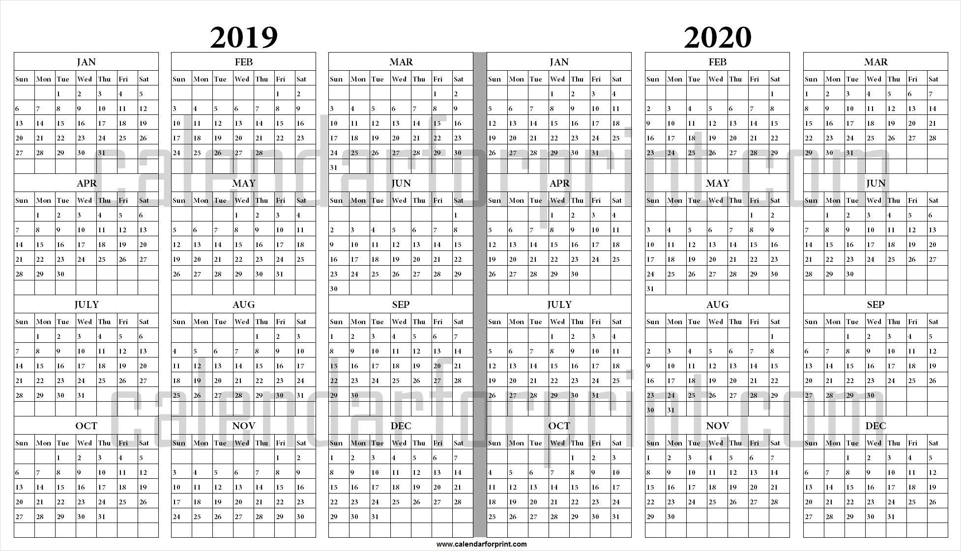 2019 And 2020 Yearly Calendar Printable | 2019 2020 Calendar