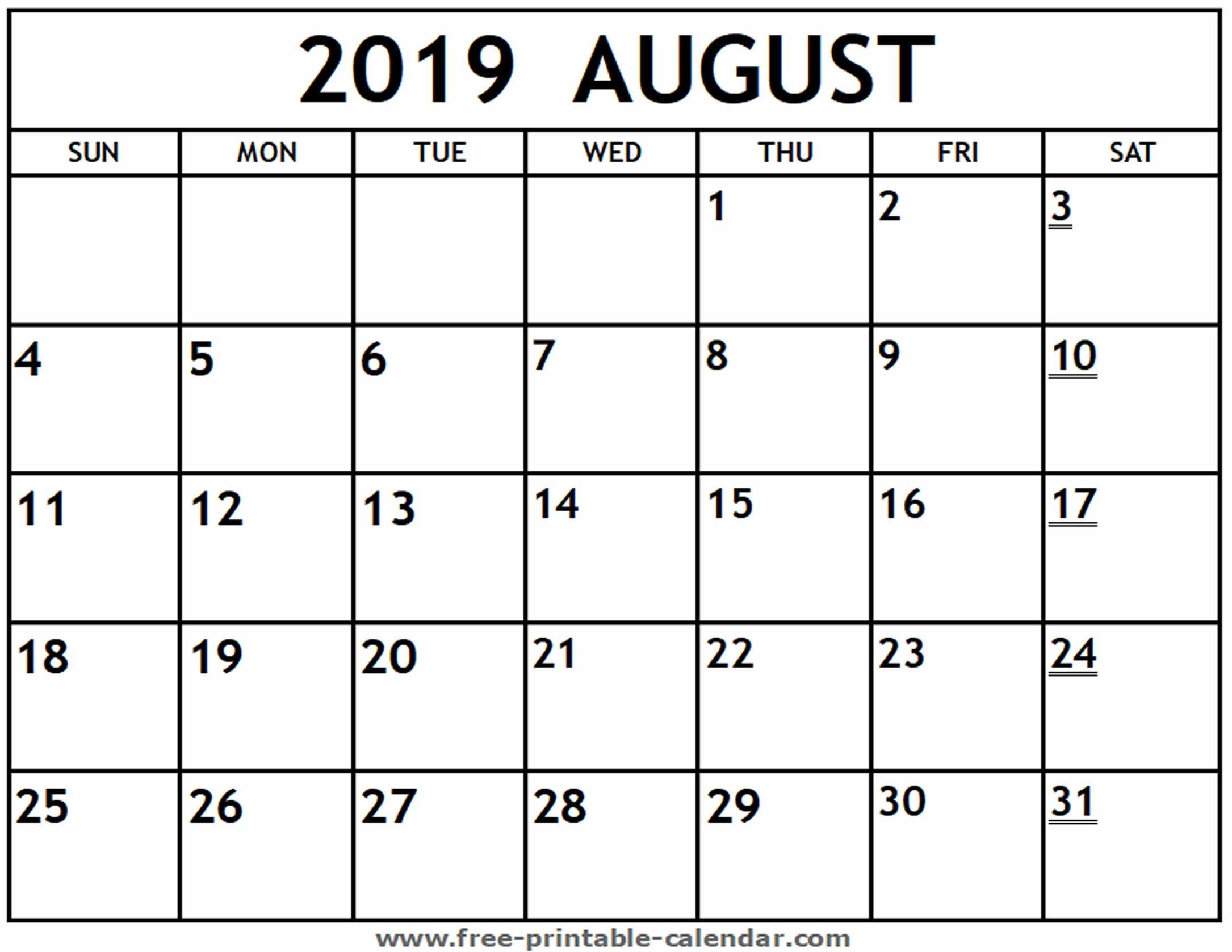 2019 August To December Calendar | Calendar Format Example