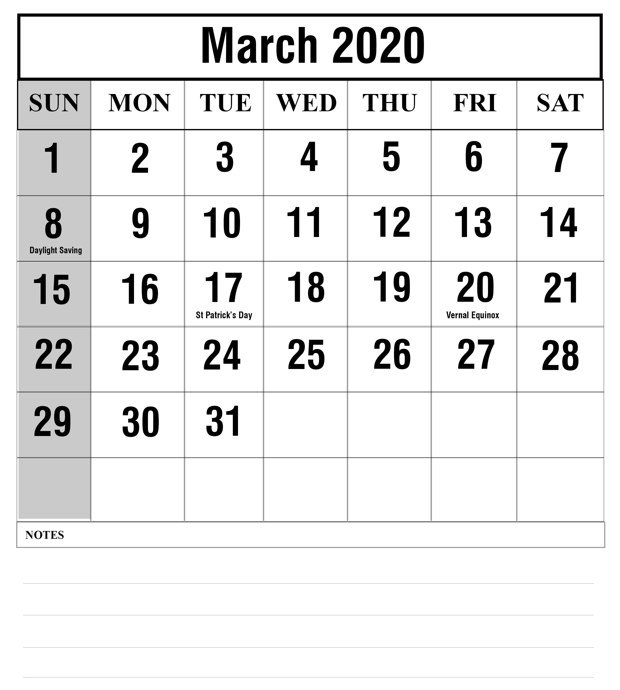 2019 Calendar 2020 Printable With Holidays - Free Printable