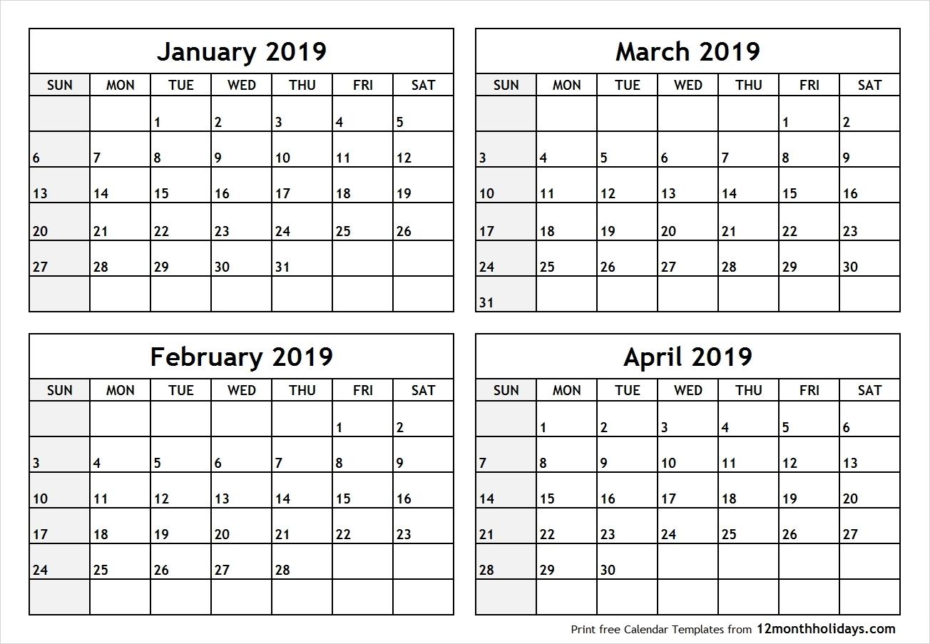 2019 Calendar 4 Months Per Page • Printable Blank Calendar