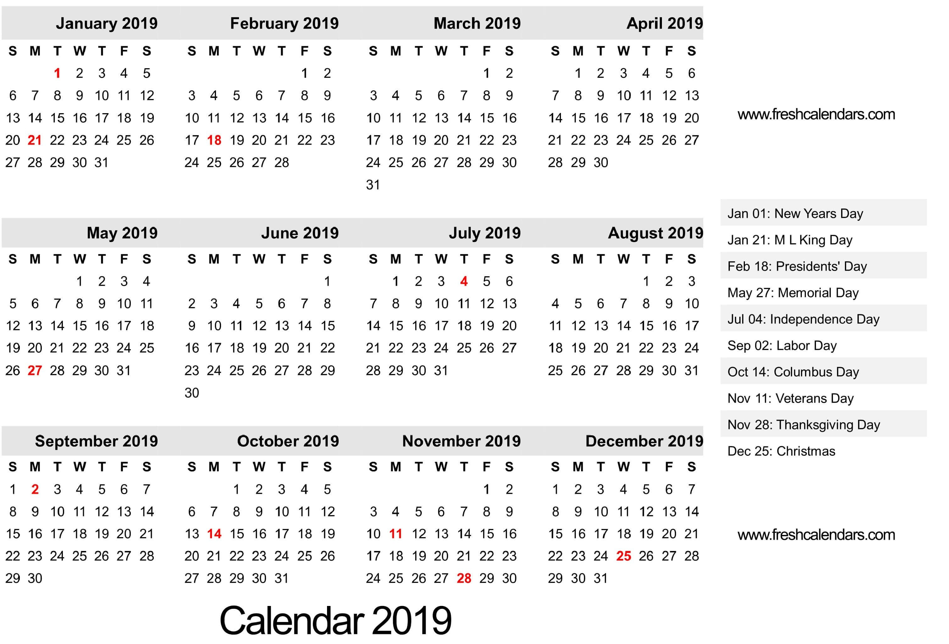 2019 Calendar August Through December | Calendar Format Example