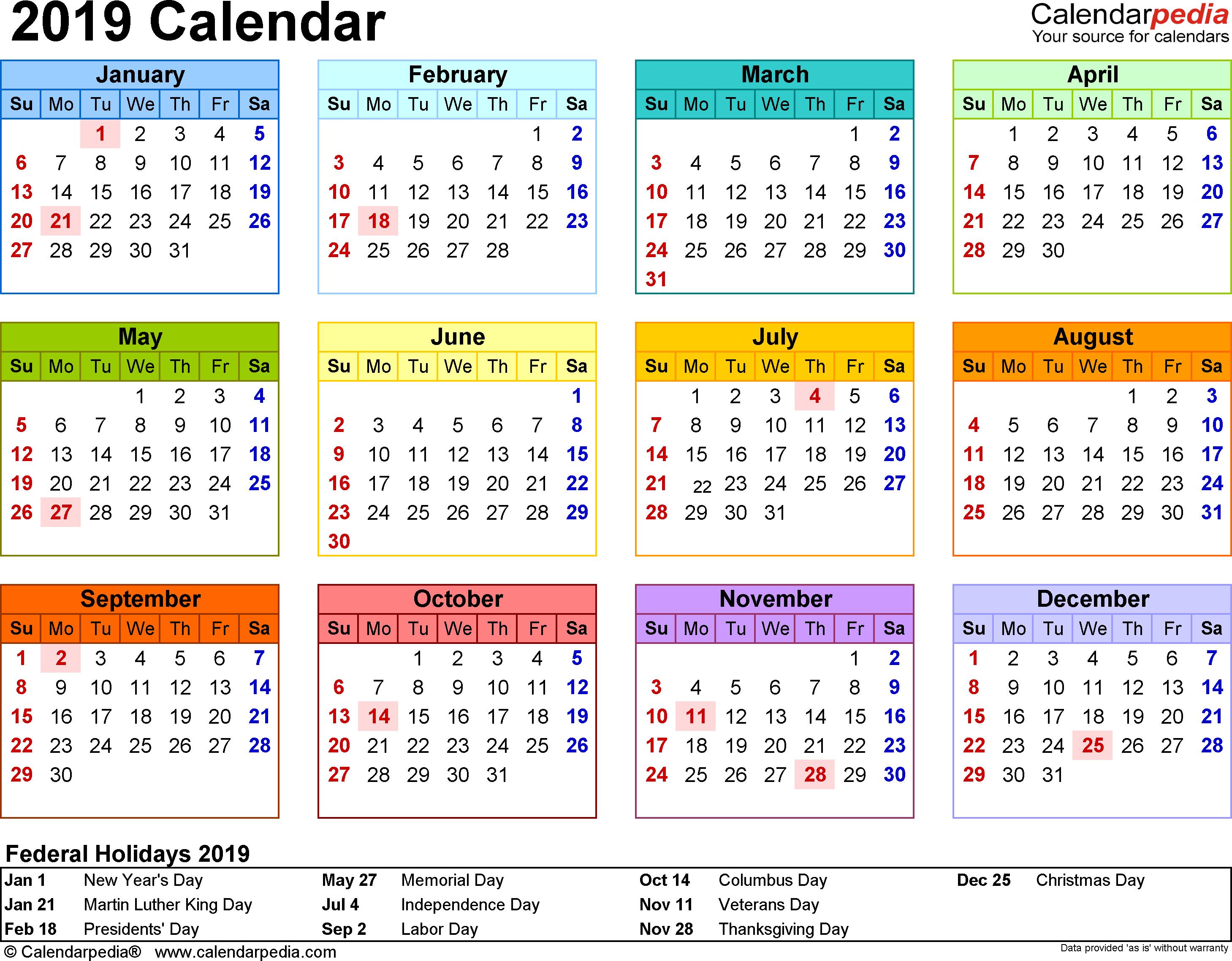2019 Calendar - Download 18 Free Printable Excel Templates