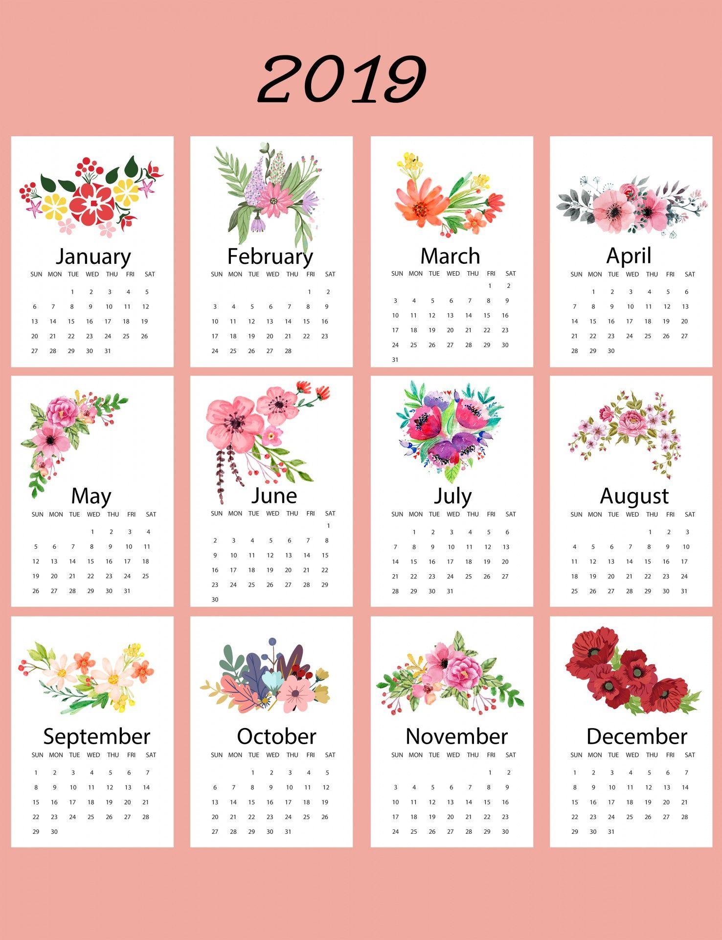 2019 Calendar Floral Template   Mom   Calendar 2019