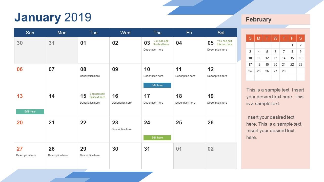 2019 Calendar Powerpoint Template